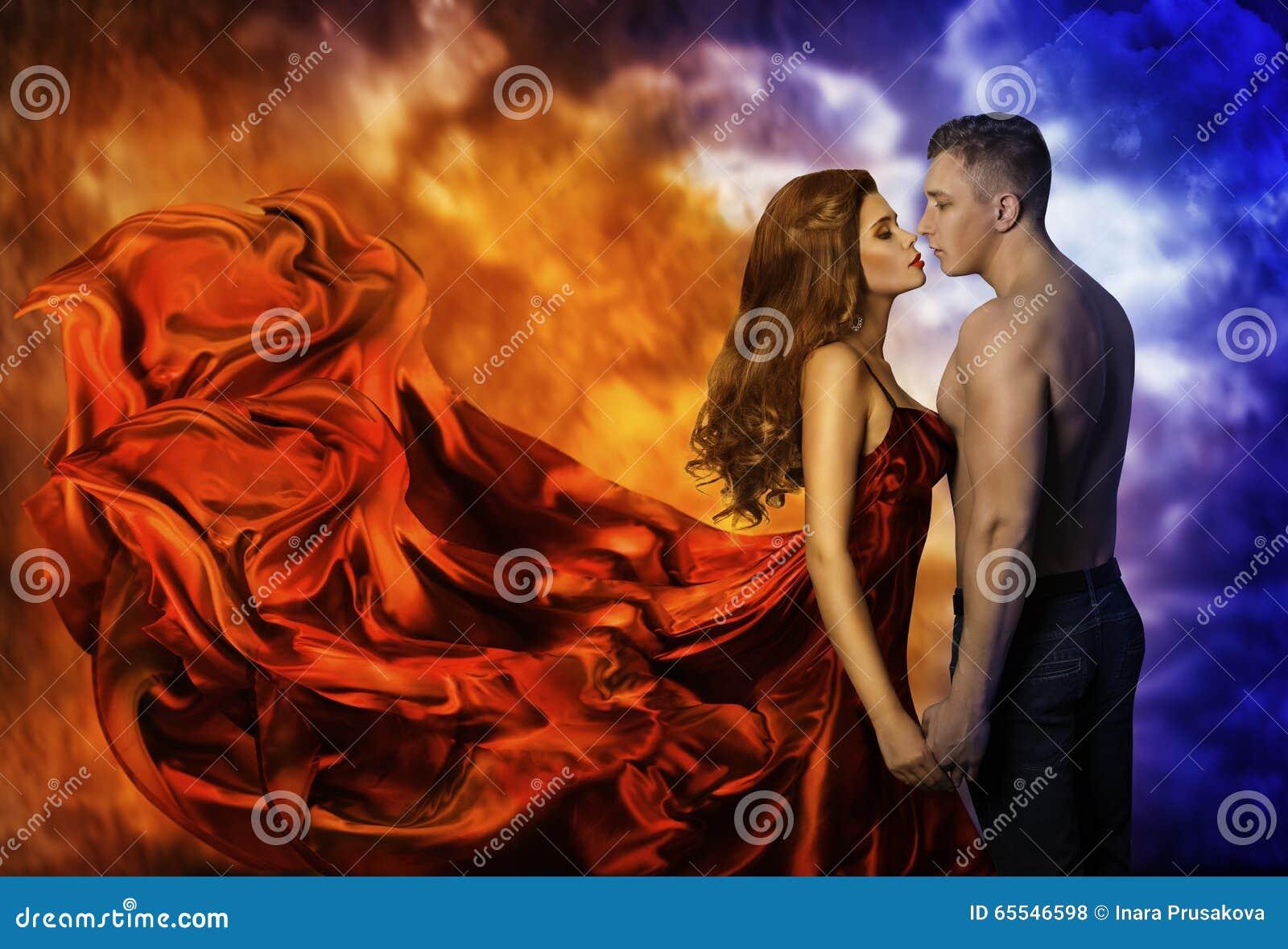 Paar in Liefde, de Hete Koude Man van de Brandvrouw, Romantische Kus