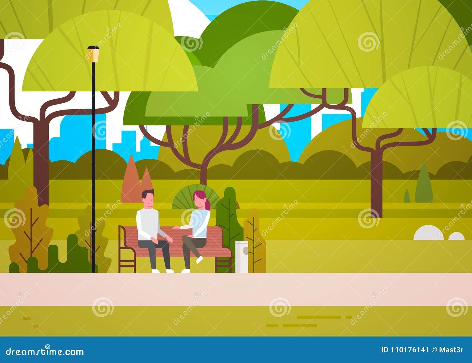 Paar-Sit On Bench In City-Park-Unterhaltungsmann und Frau, die beim Natur-In Verbindung stehen sich entspannen