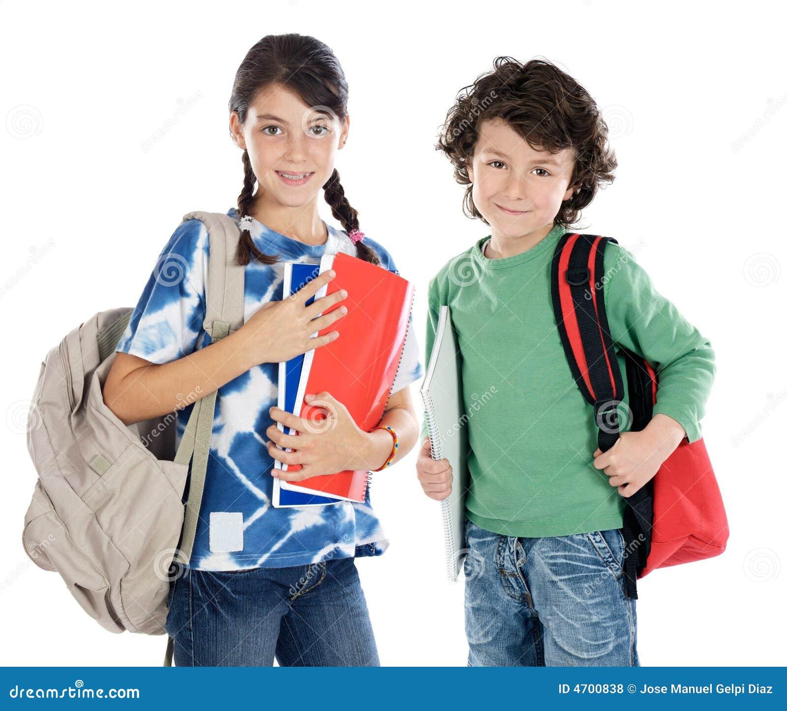 Paar van kinderenstudenten