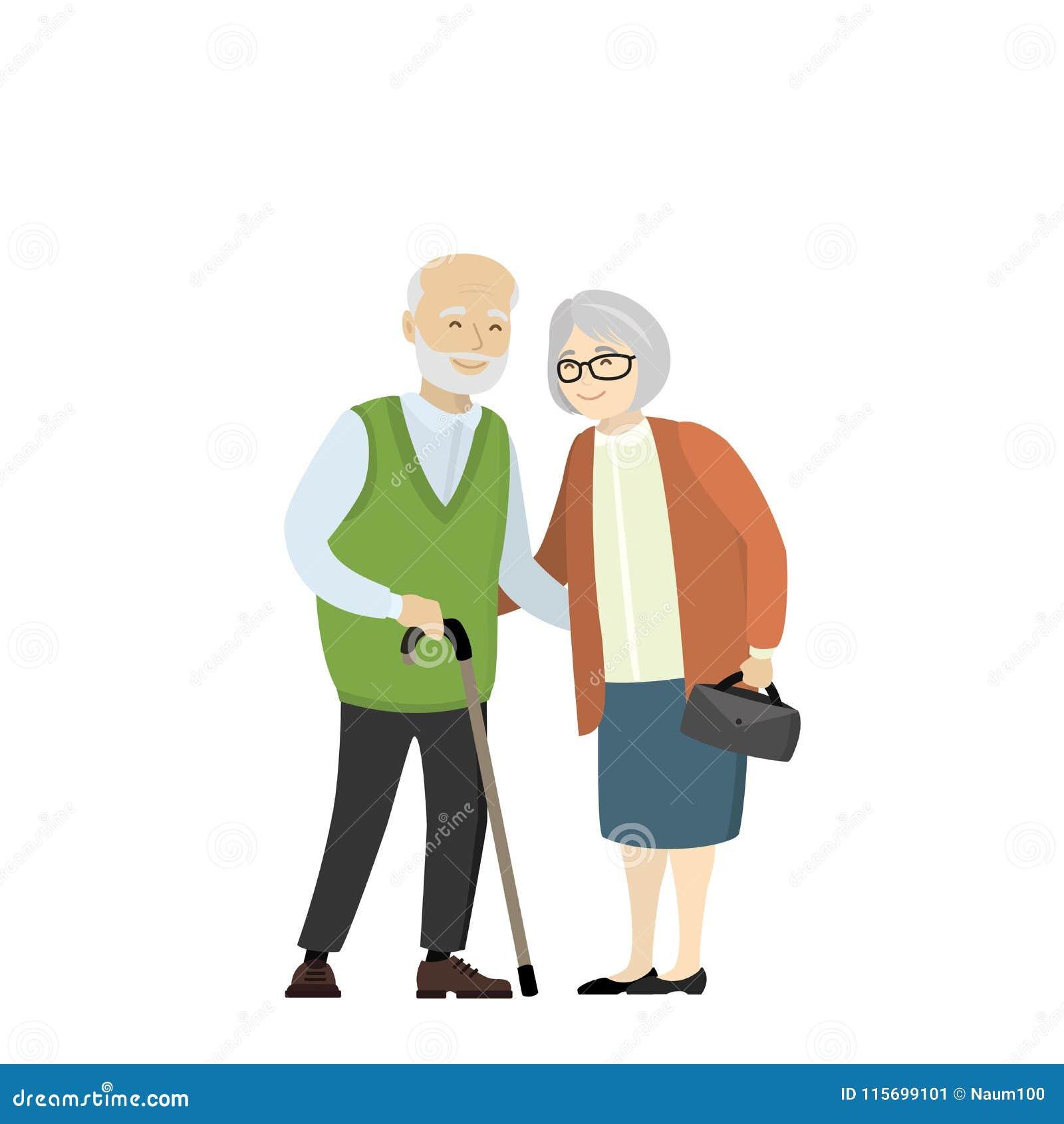 Paar van oudere mensen Grootmoeder en grootvader