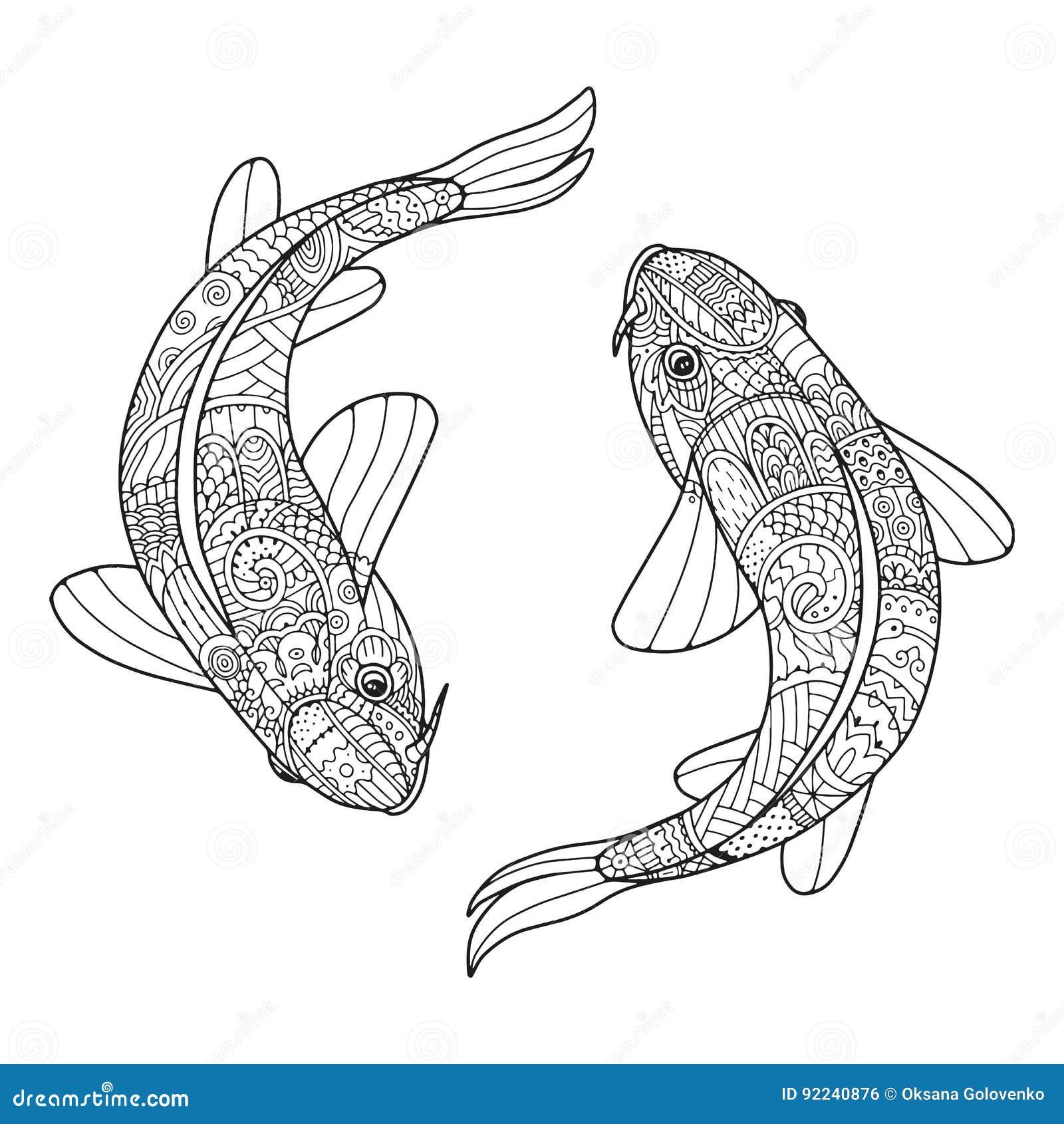 Paar van Zen het kunst gestileerde vissen in vector Twee koikarpers
