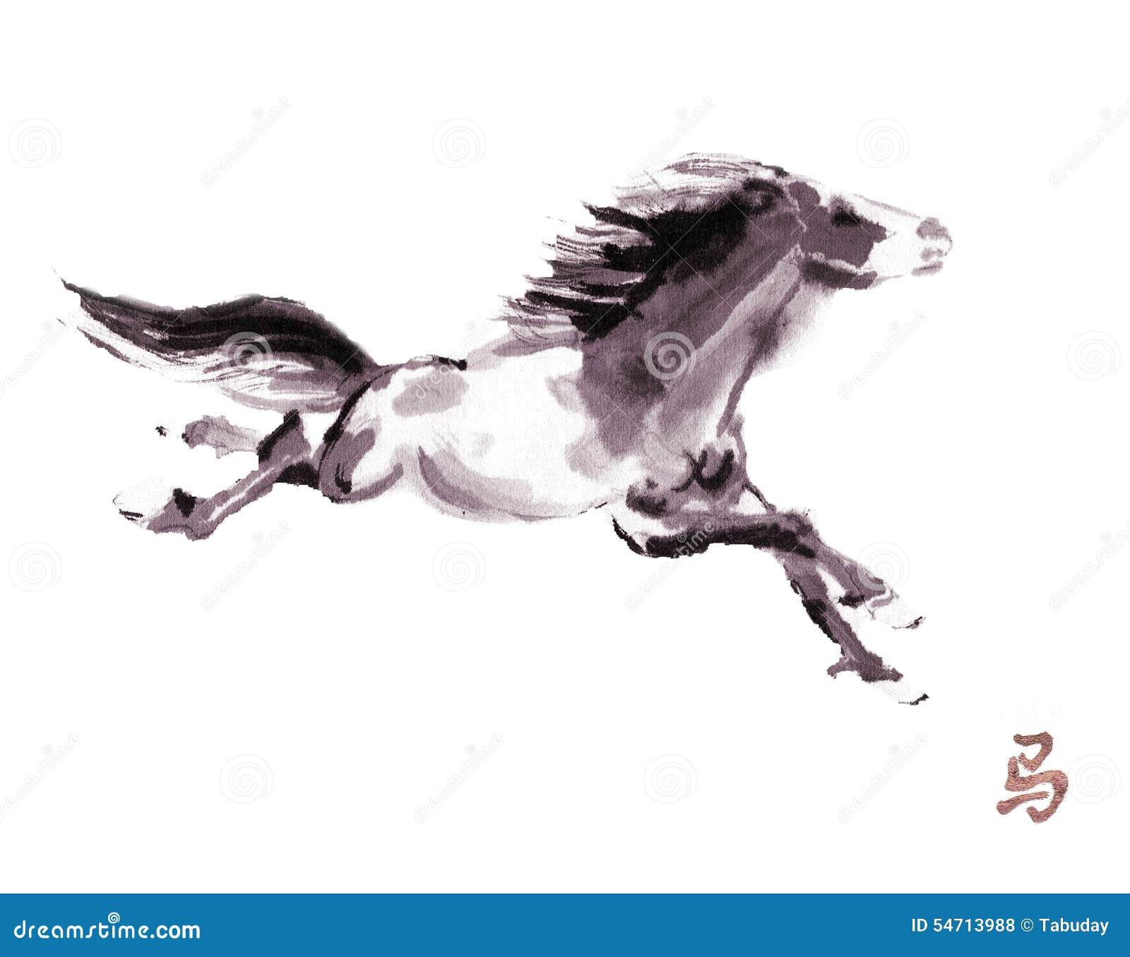Paard het oosterse inkt schilderen, sumi-e