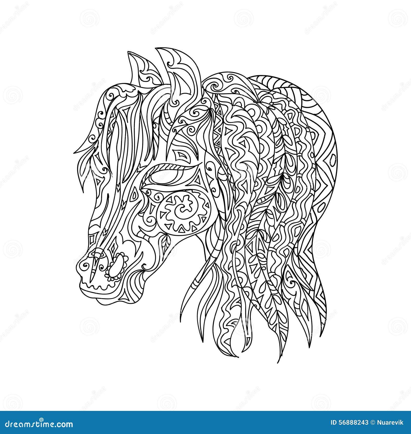 Kleurplaat K3 Paarden Paardhoofd Zentangle Stock Illustratie Illustratie