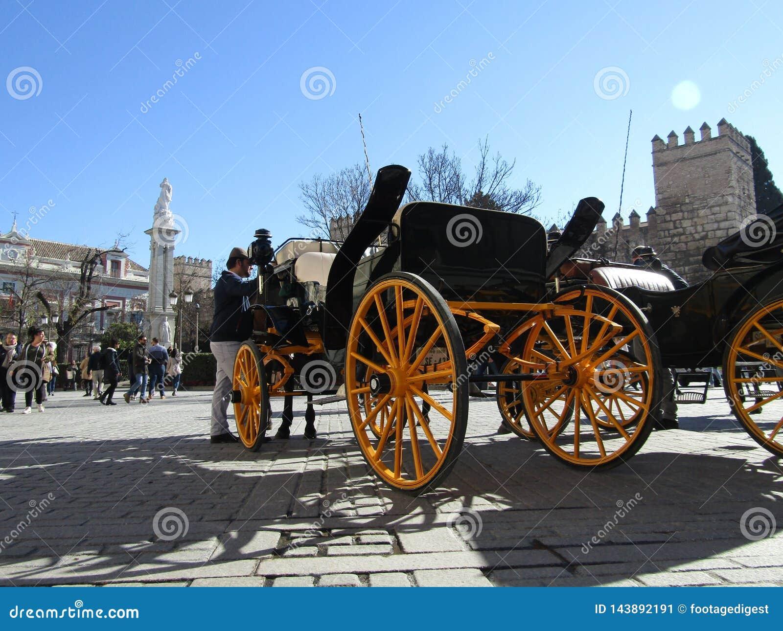 Paardvervoer in Sevilla, Spanje
