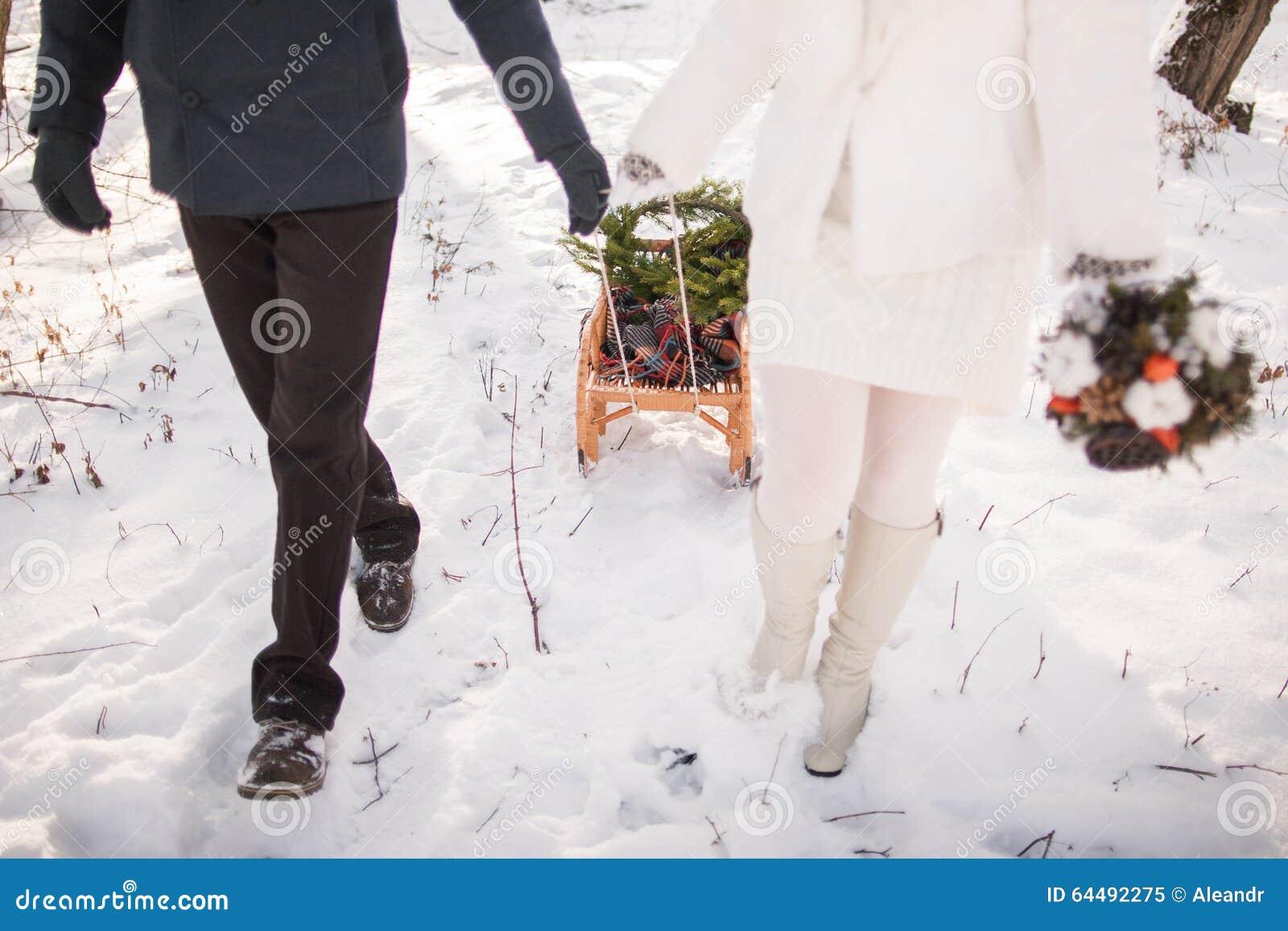 Paare, die zusammen draußen mit Pferdeschlitten gehen