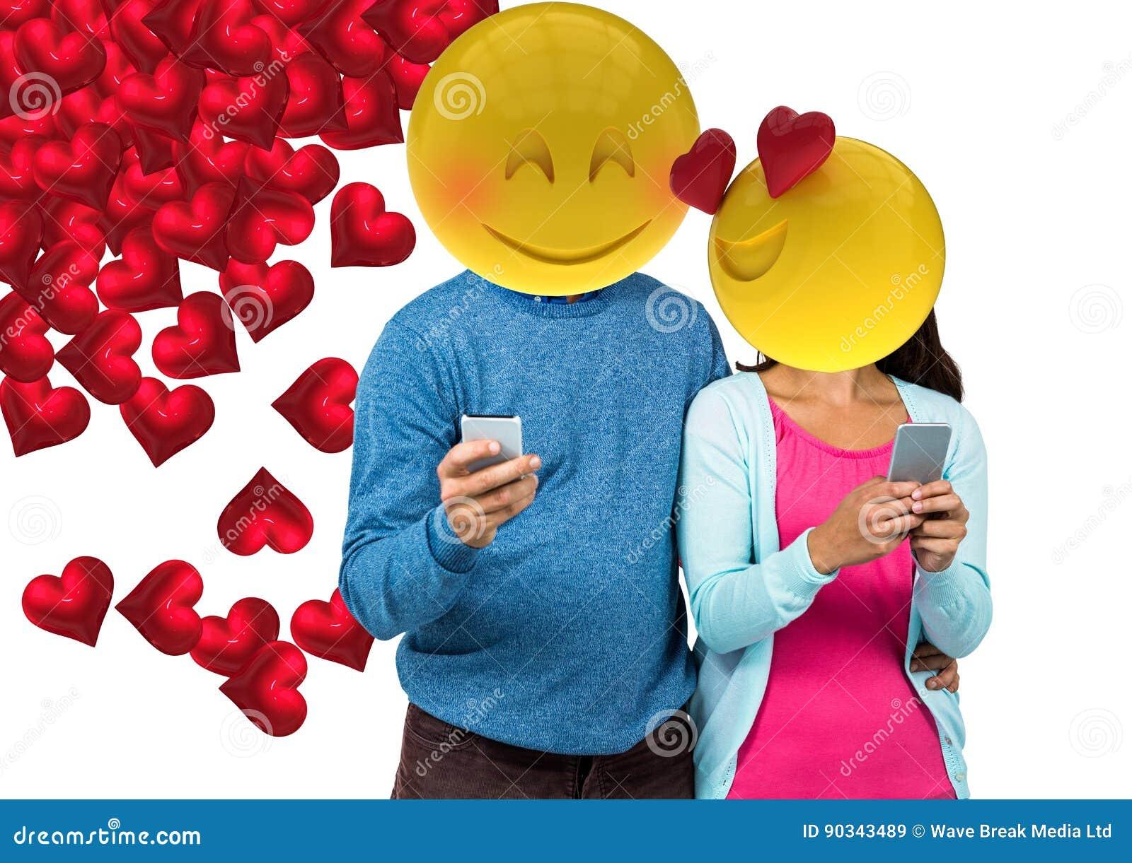 Paargefühl in der Liebe Emoji stellen gegenüber