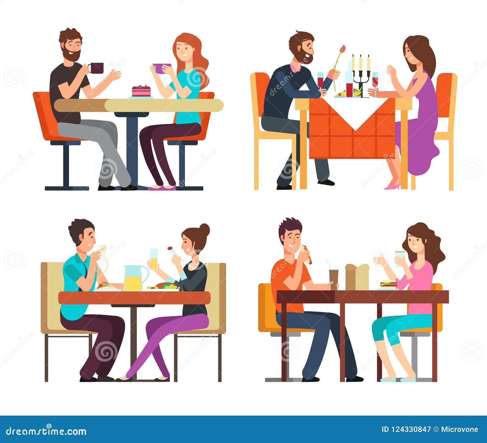 Paartabelle Mann, Frau, die Kaffee und zu Abend isst Gespräch zwischen Kerlen im Restaurant Vektorzeichentrickfilm-figuren