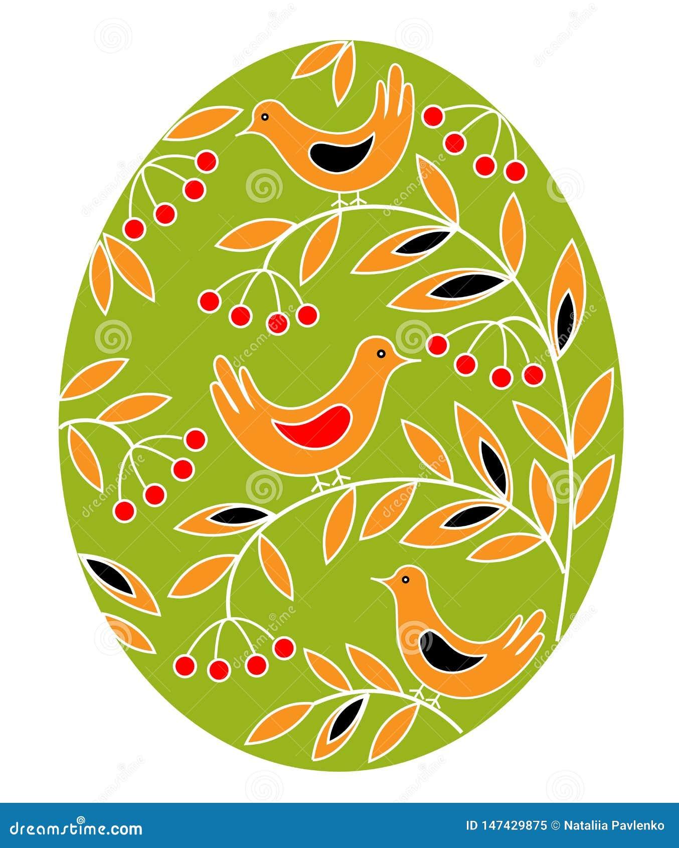 Paasei met een geschilderd patroon Vogels op takken met bessen en bladeren Het symbool van Pasen Een oude traditie van mensen