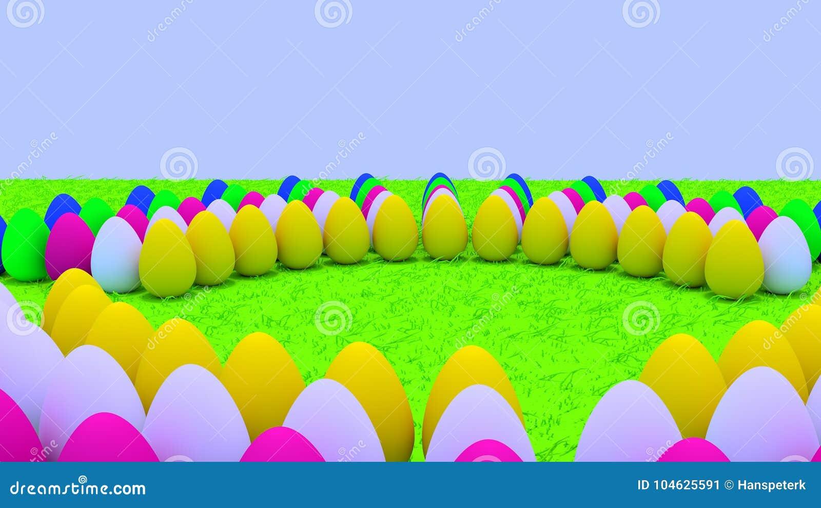 Download Paaseieren Die Zich Op Groen Gras Bevinden Stock Illustratie - Illustratie bestaande uit eieren, achtergrond: 104625591