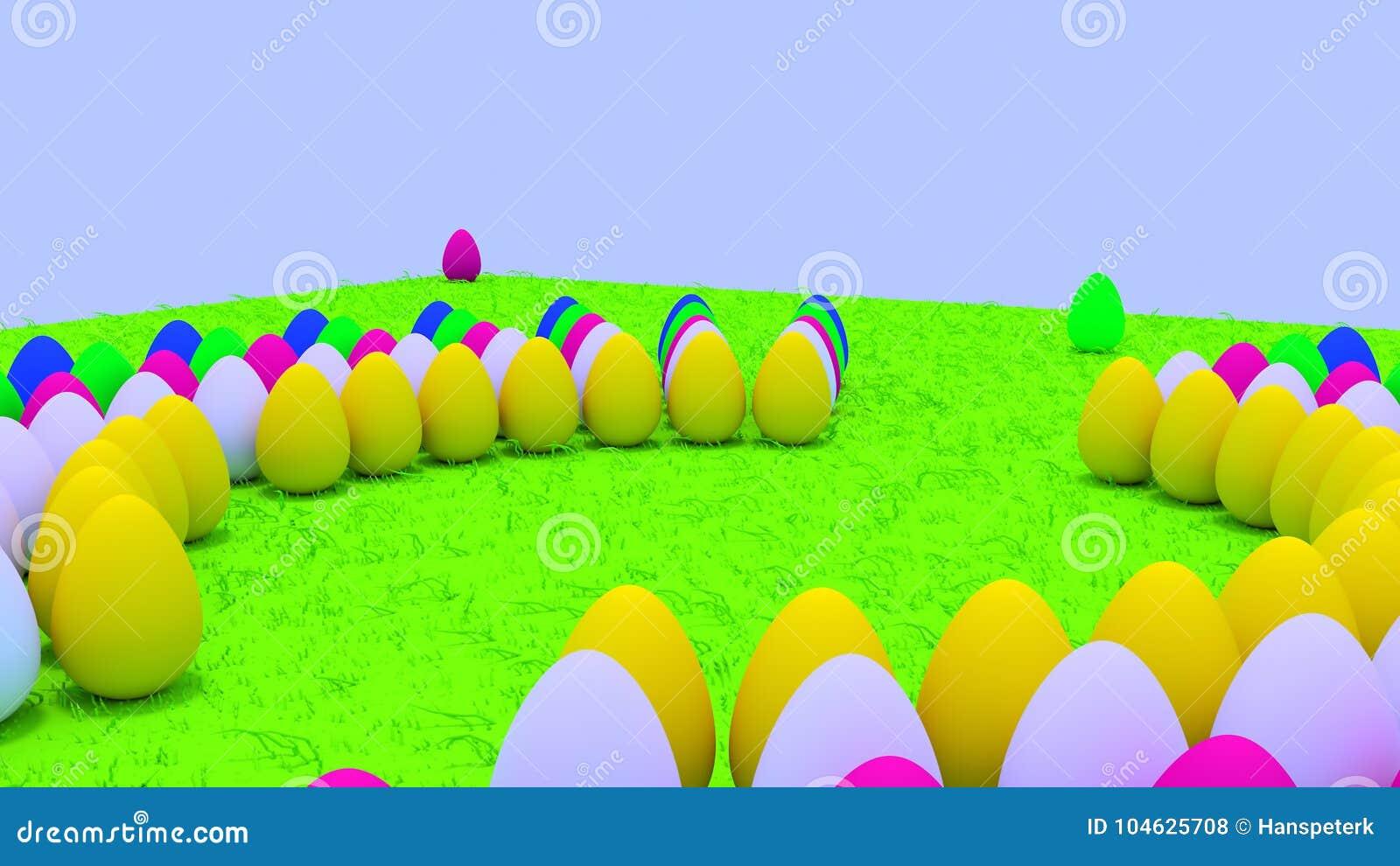 Download Paaseieren Die Zich Op Groen Gras Bevinden Stock Illustratie - Illustratie bestaande uit groen, gras: 104625708