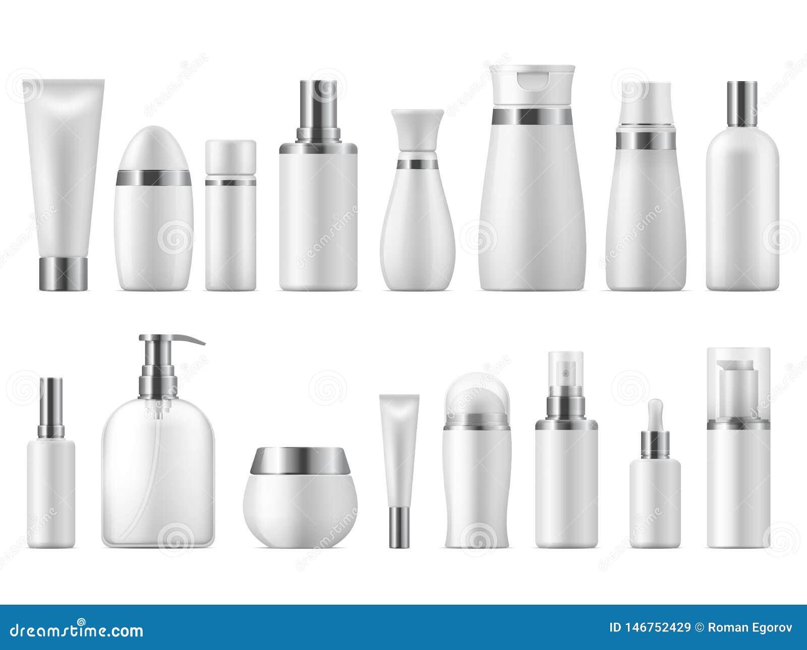 Pacchetto cosmetico realistico Modello in bianco del prodotto di bellezza del pacchetto 3D dei cosmetici bianchi vuoti cosmetici