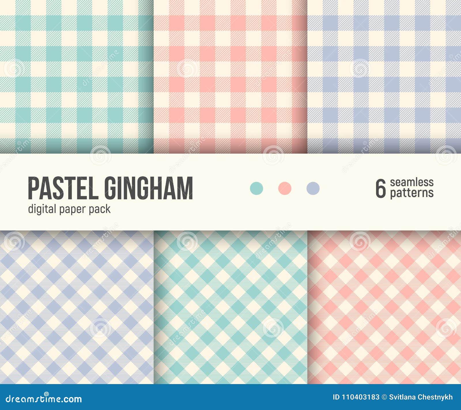 Pacchetto di carta di Digital, 6 modelli tradizionali del percalle, colori pastelli