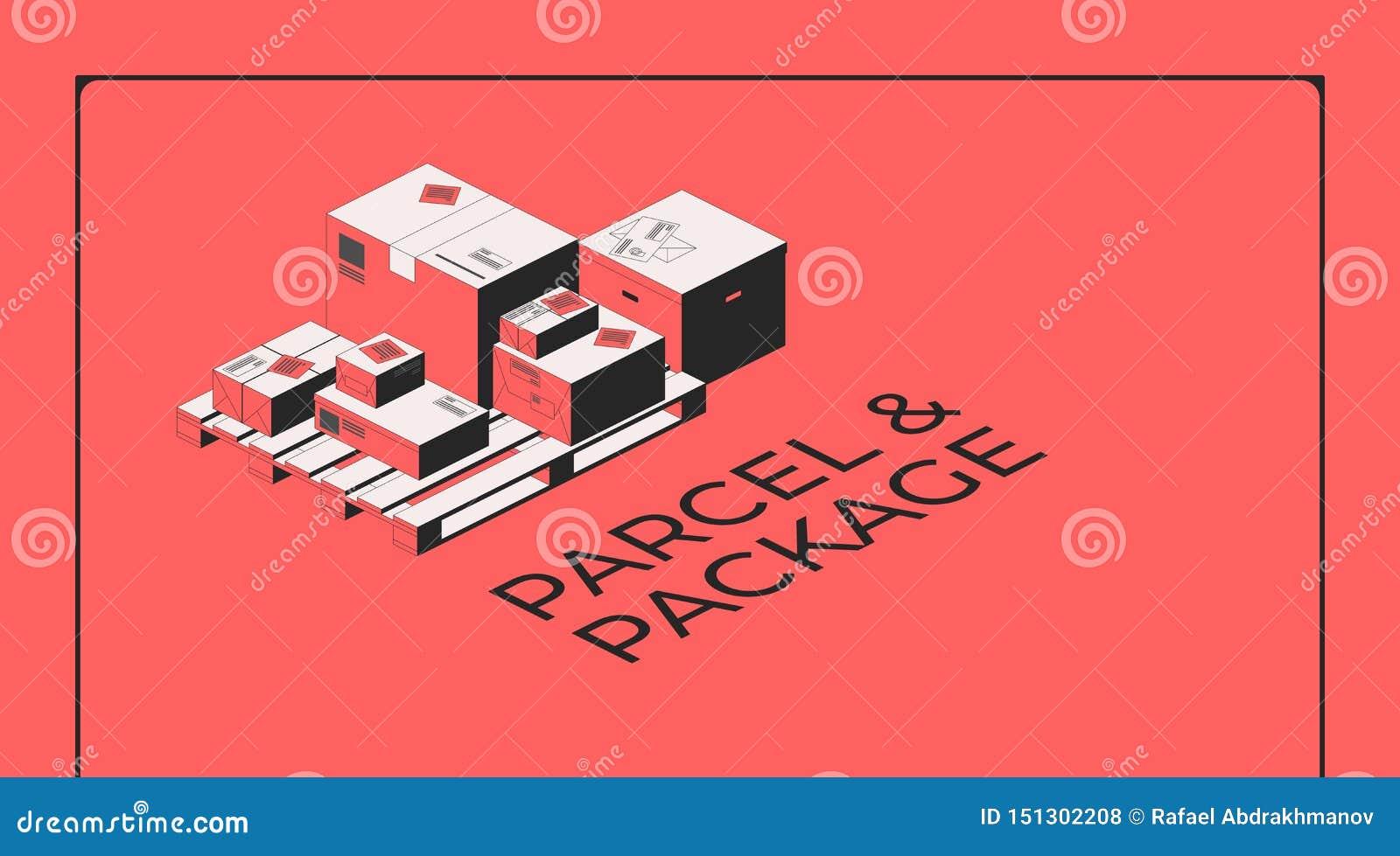 Pacchetto e pacchetto Scatole su un pallet di legno Illustrazione isometrica di vettore per una pagina di atterraggio di Internet