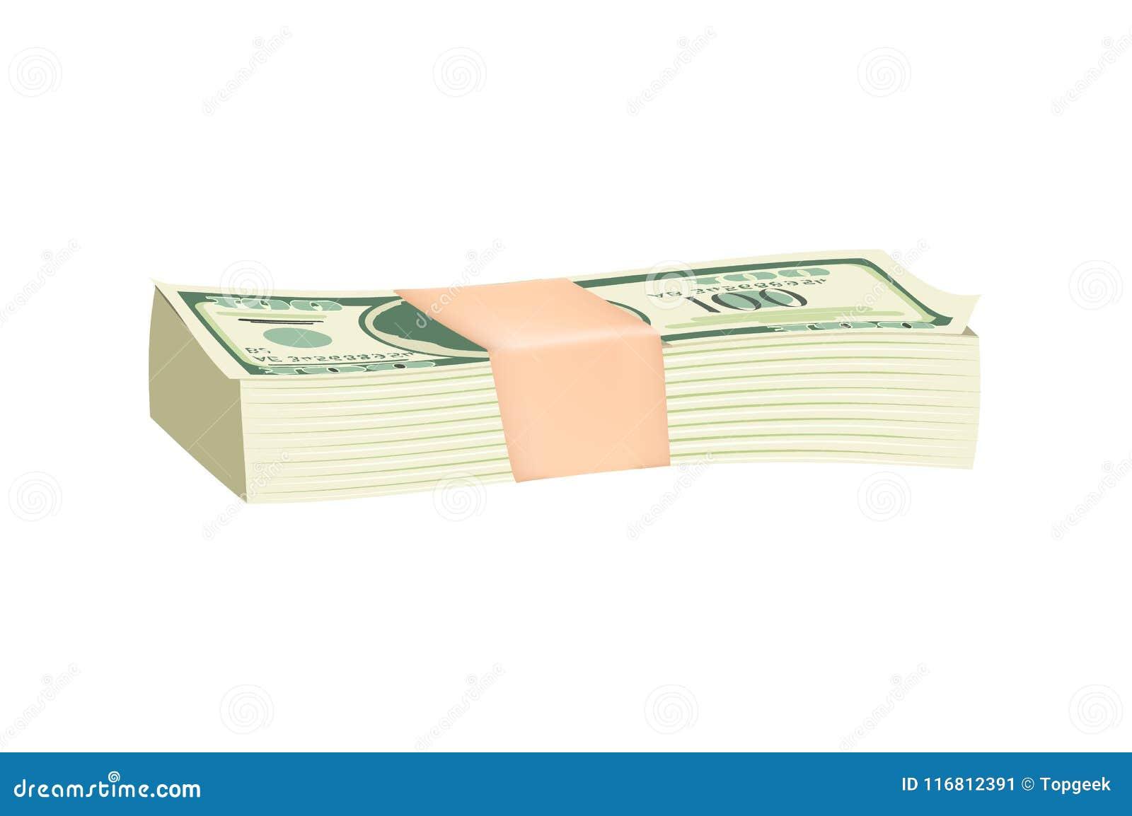 Pacco dell illustrazione verde di vettore delle banconote in dollari