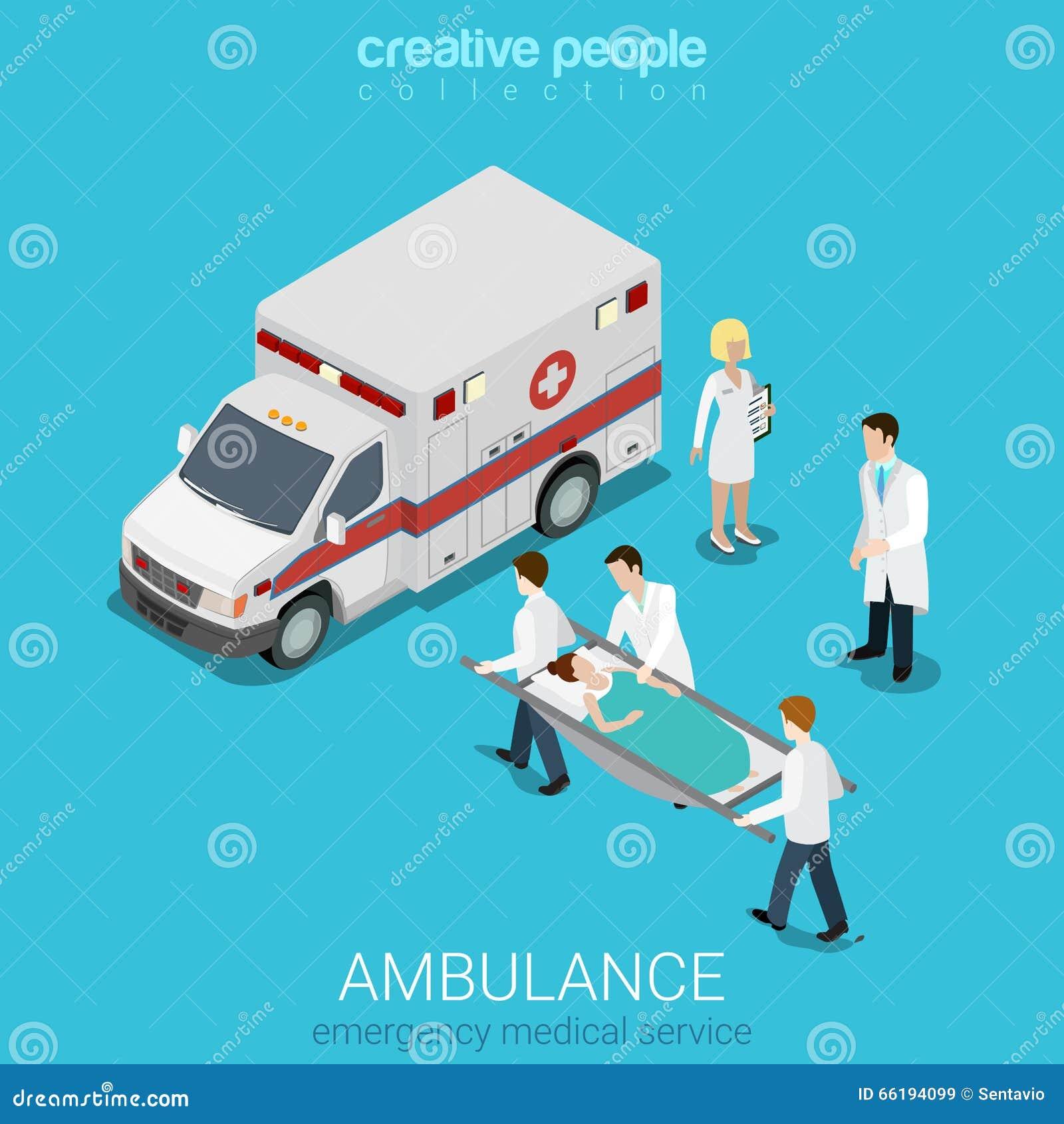 Paciente isométrico plano de la emergencia de la ambulancia del vector 3d médico