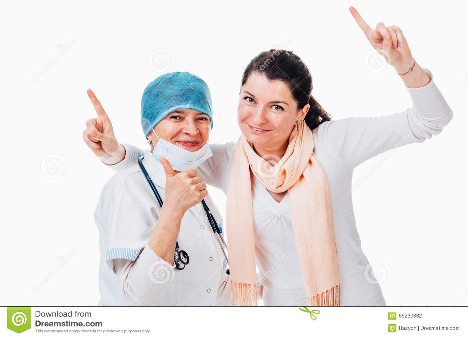 Download Paciente Joven Feliz Que Se Coloca Con El Doctor Foto de archivo - Imagen de éxito, caucásico: 59230882