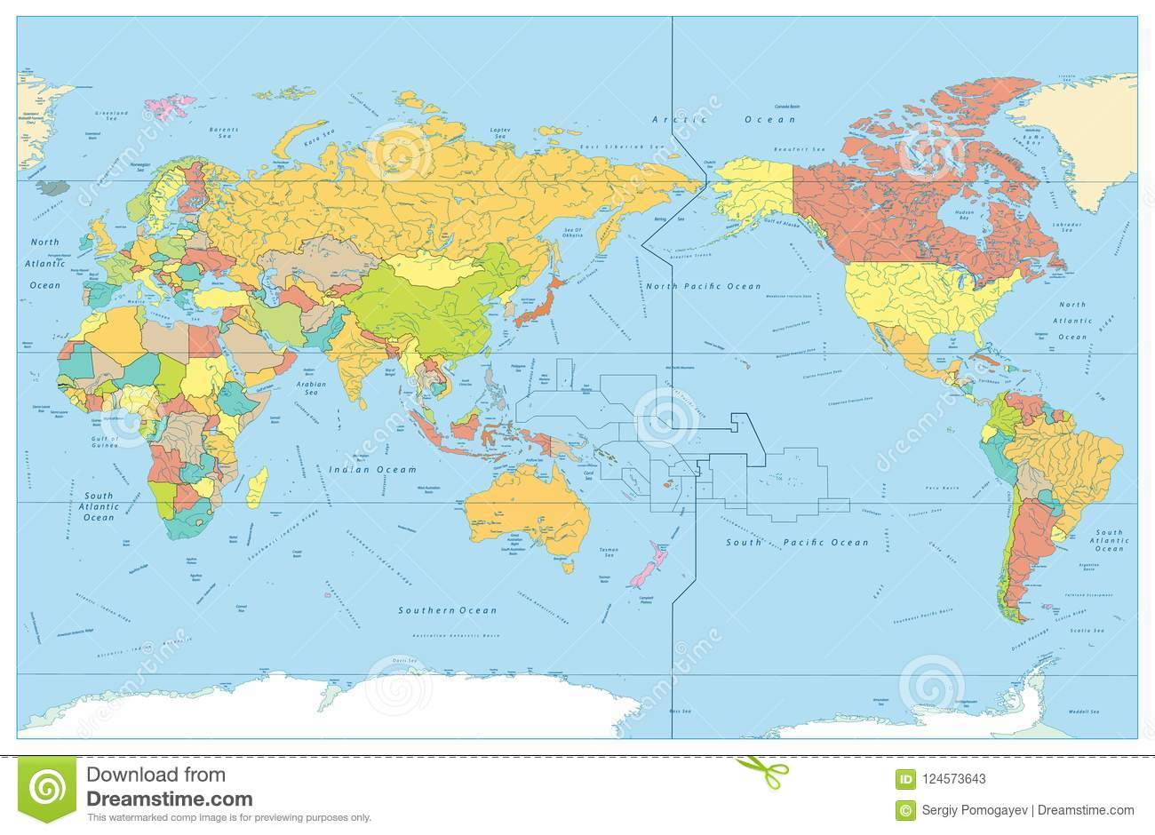 Map Of Asia No Names.Pacific Centered World Colored Map With Rivers And Its Names Stock