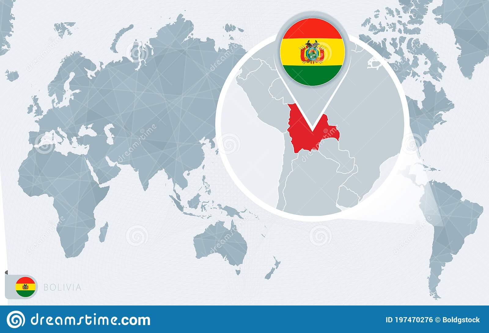 Picture of: Pacific Centered World Map With Magnified Bolivia Flag And Map Of Bolivia Stock Vector Illustration Of Background Pacific 197470276
