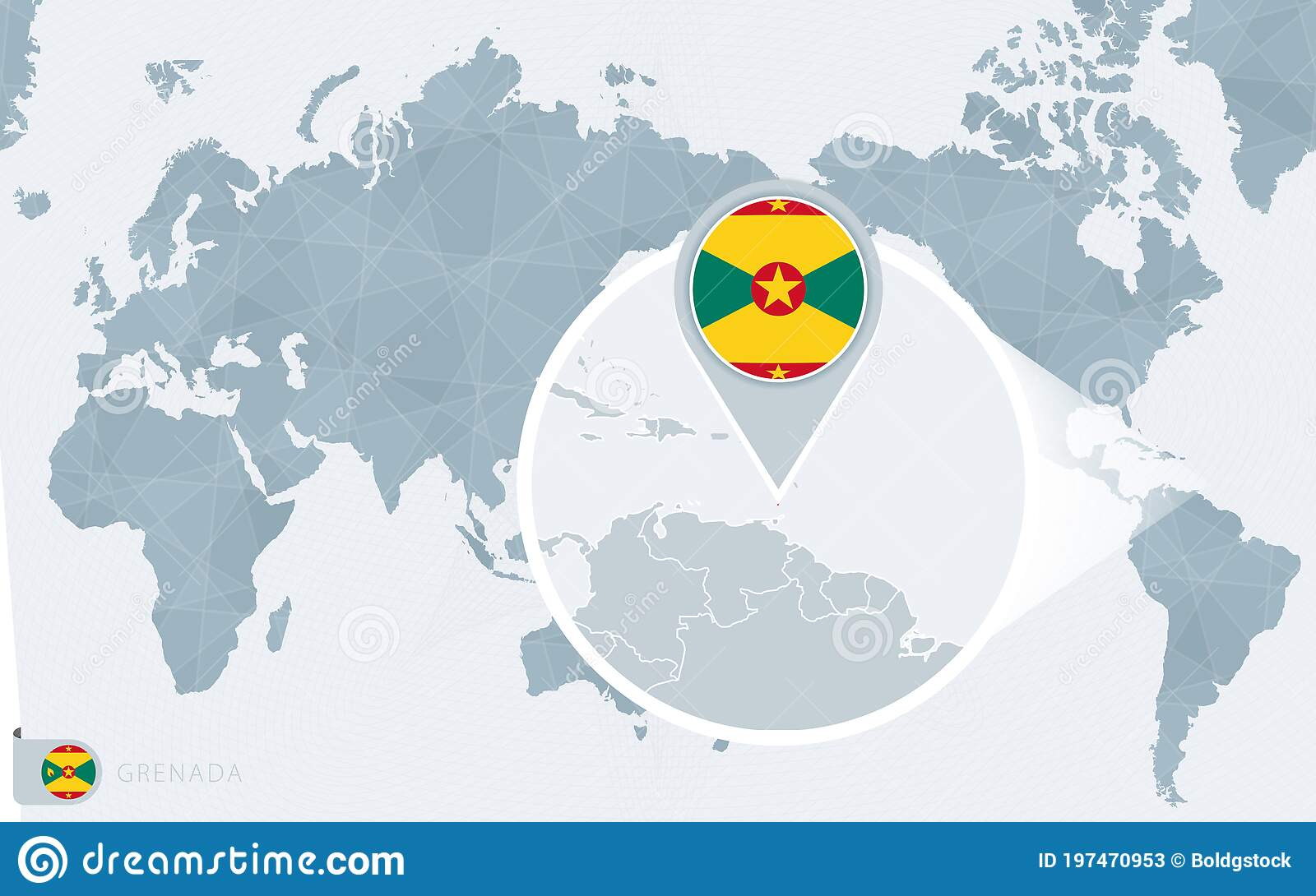 Picture of: Pacific Centered World Map With Magnified Grenada Flag And Map Of Grenada Stock Vector Illustration Of Caribbean Country 197470953