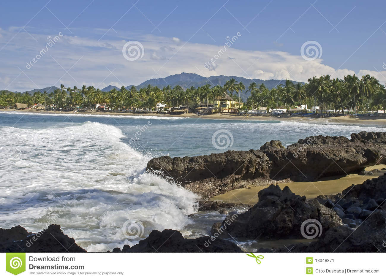 Pacific Ocean cove and beach in Nayarit, Mexico