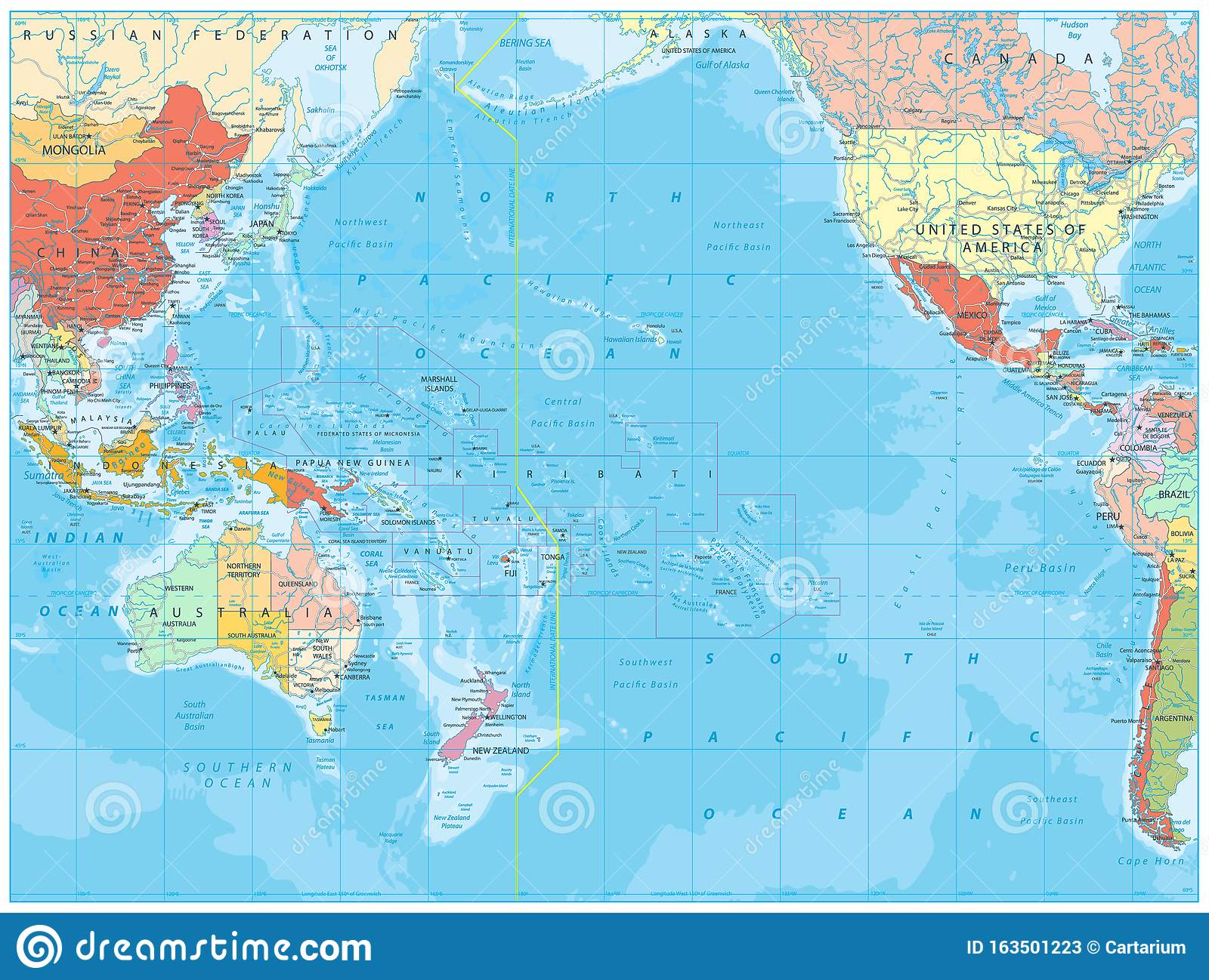 Picture of: Pacific Ocean Political Map And Bathymetry Stock Vector Illustration Of Locations Continents 163501223