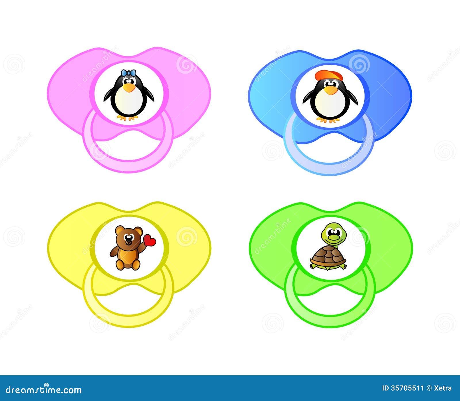 pacifier  vector icon set stock image image 35705511 Cute Baby Girl Clip Art Baby Girl Bottle Clip Art