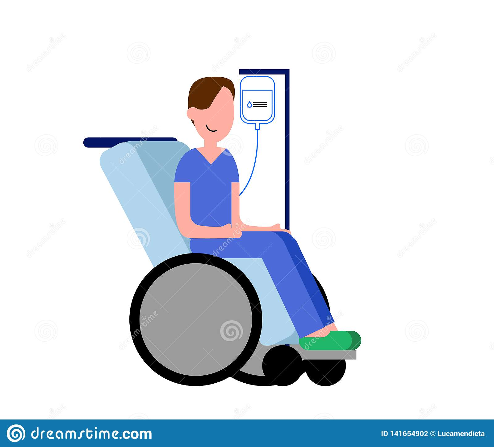 Pacjent w szpitalnym dostawaniu dawka serum podczas gdy w wózku inwalidzkim