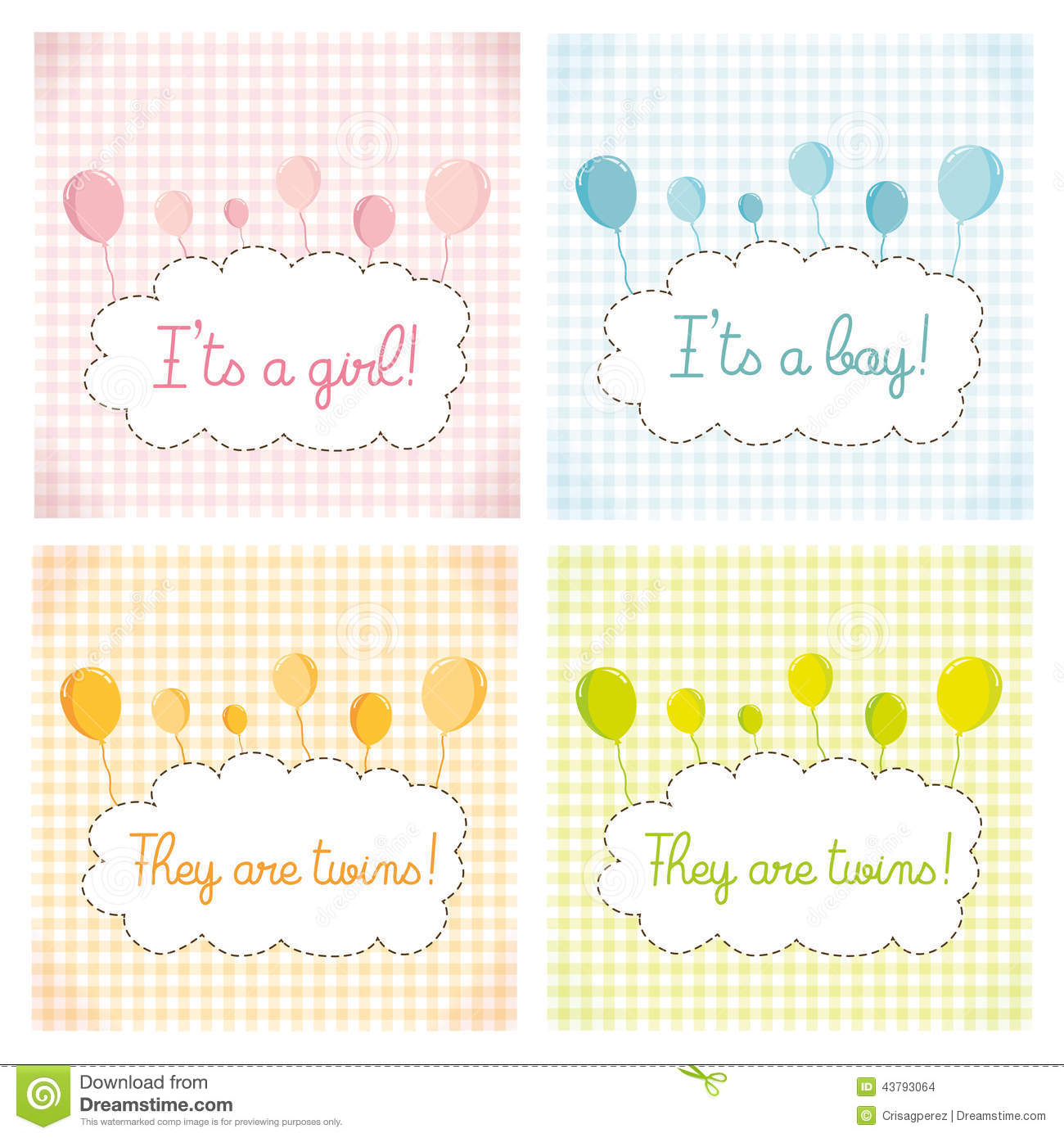 Pack Baby Shower Invitation Card Template Stock Illustration