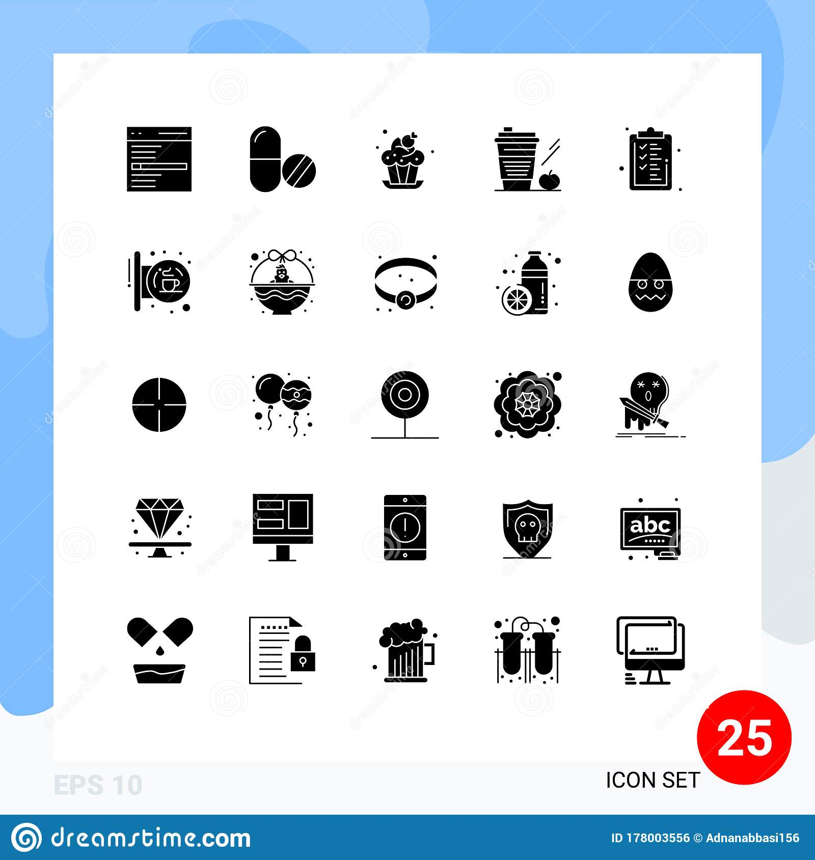 25 Creative Icons Modern Signs And Symbols Of Glass Apple Tablet Starbucks Dessert Stock Vector Illustration Of Basket Bakery 178003556