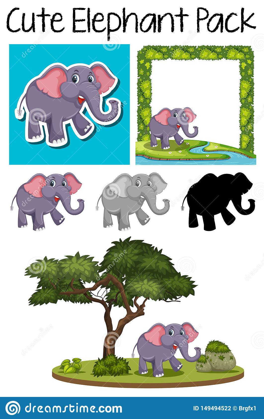 A pack of cute elephant stock vector. Illustration of ...