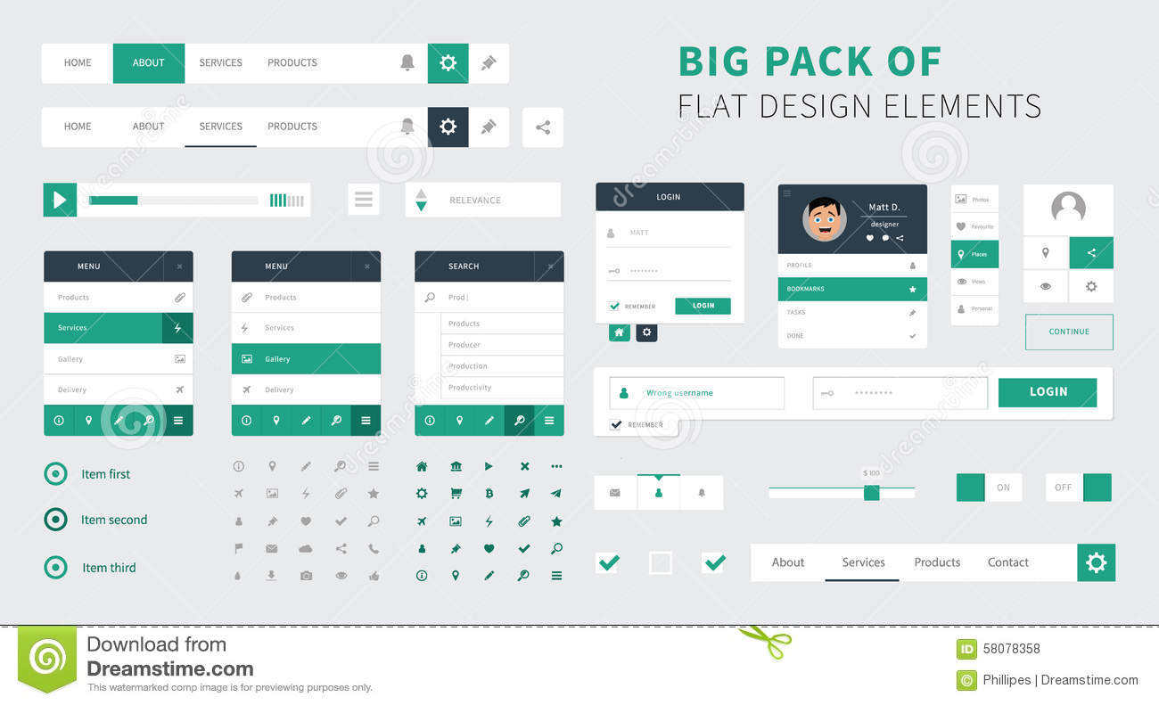 Pack Of Flat Design Ui Kit Vector For Webdesign Stock
