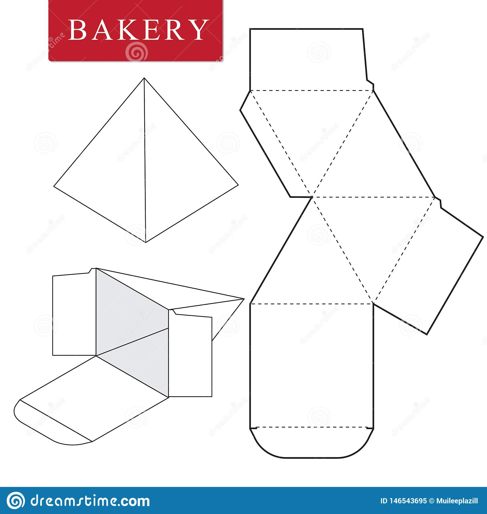 Package for bakery.Vector Illustration of Box.