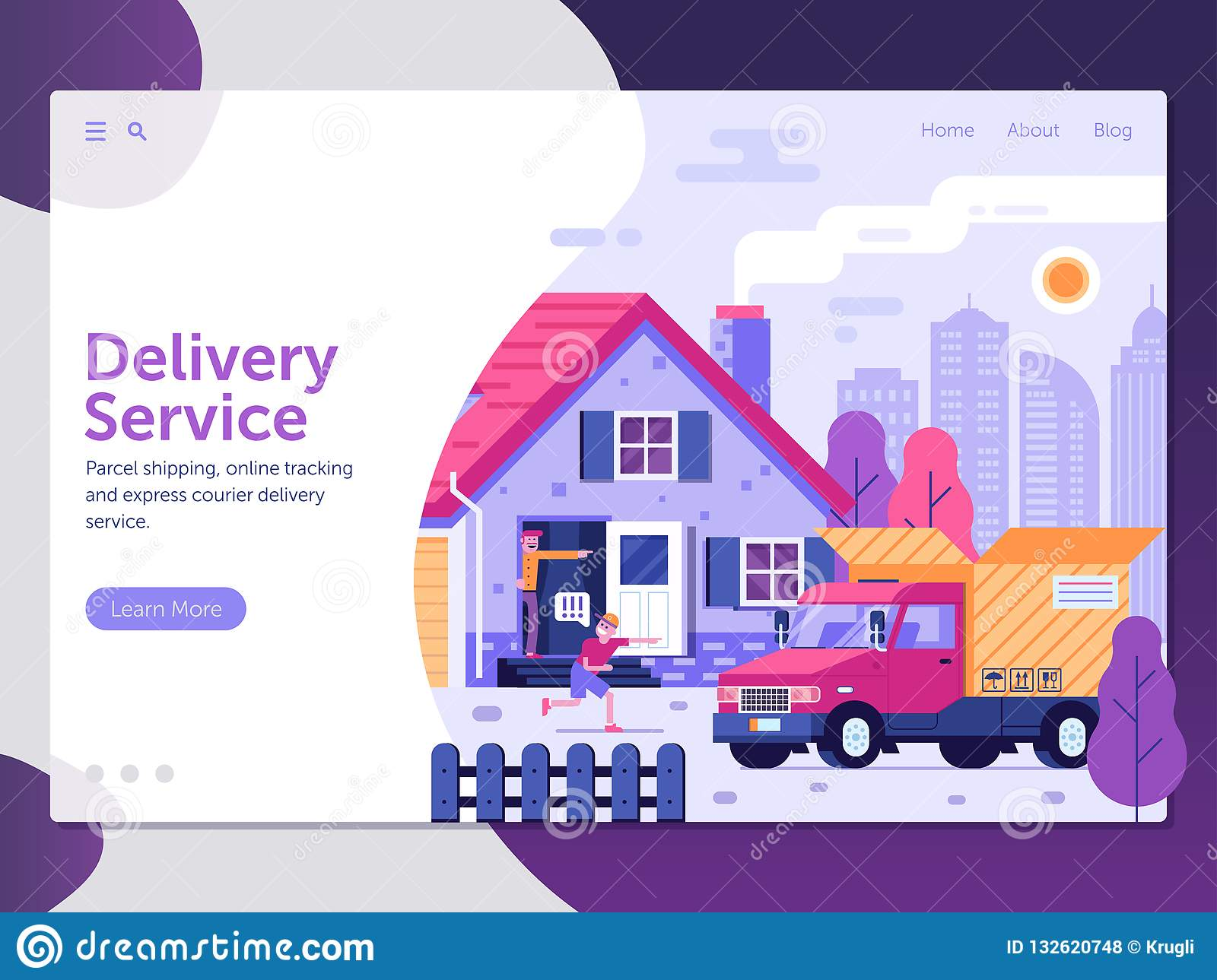 Package Delivery Service Landing Page Stock Vector - Illustration of