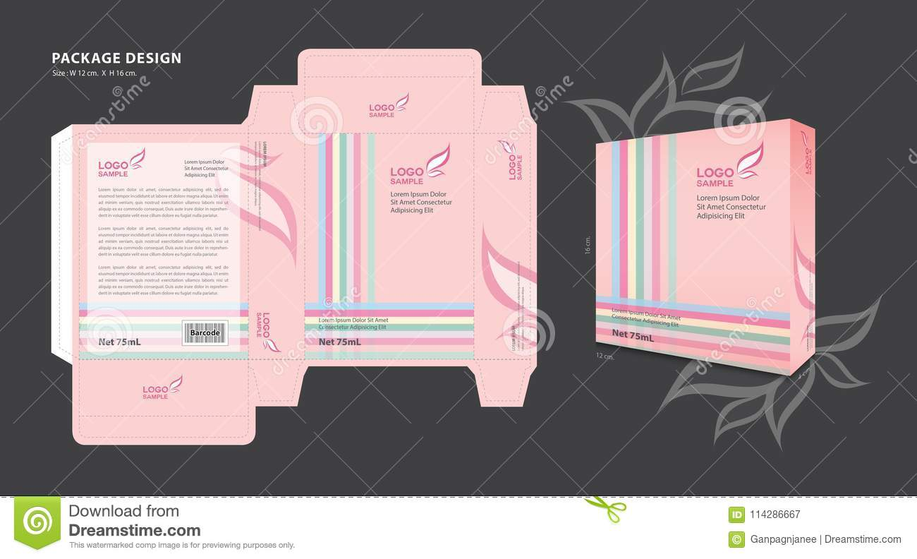 package template design for supplements cosmetics creams lotion