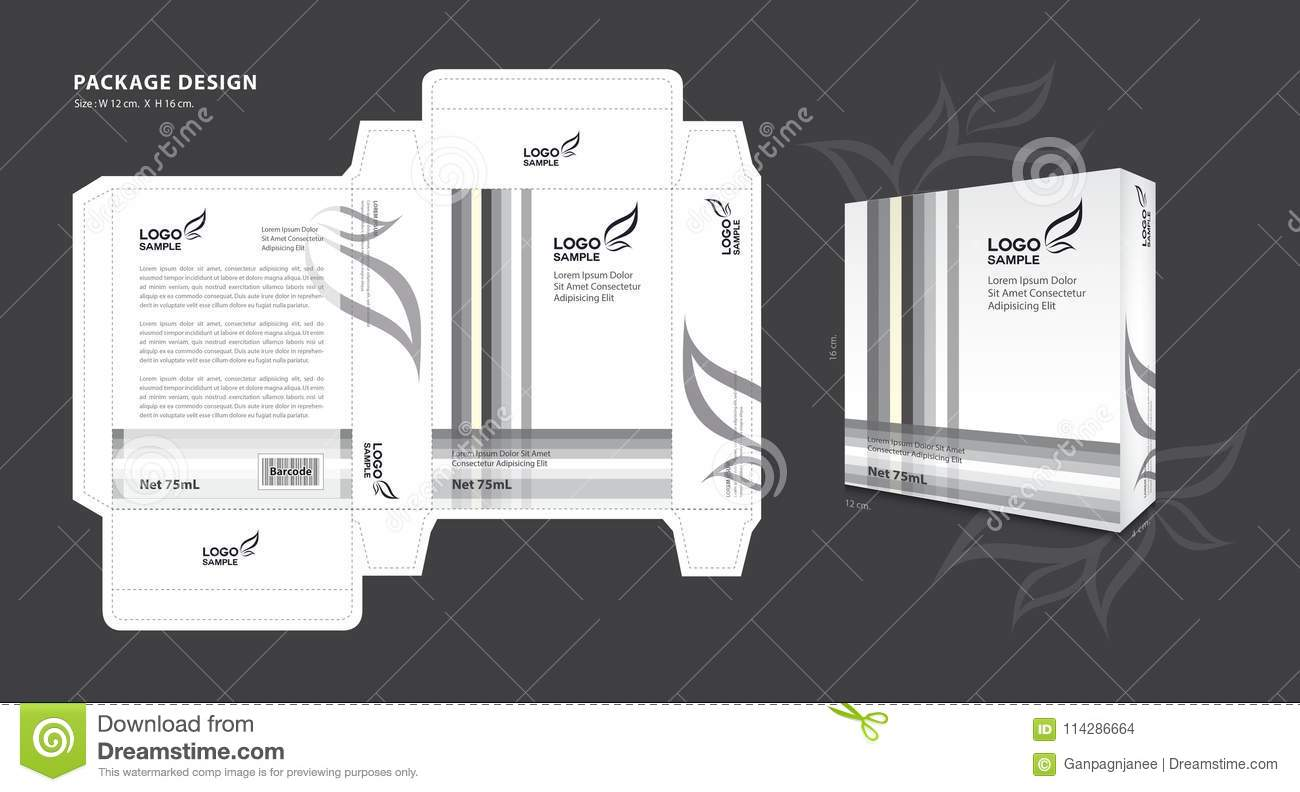Package Template Design For Supplements, Cosmetics, Creams