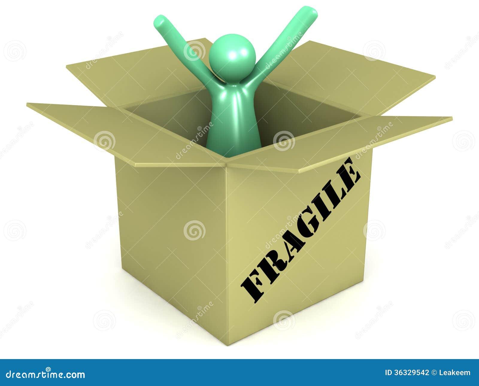 Packaged cartoon man in a fragile carton box stock illustration royalty free stock photo buycottarizona Gallery