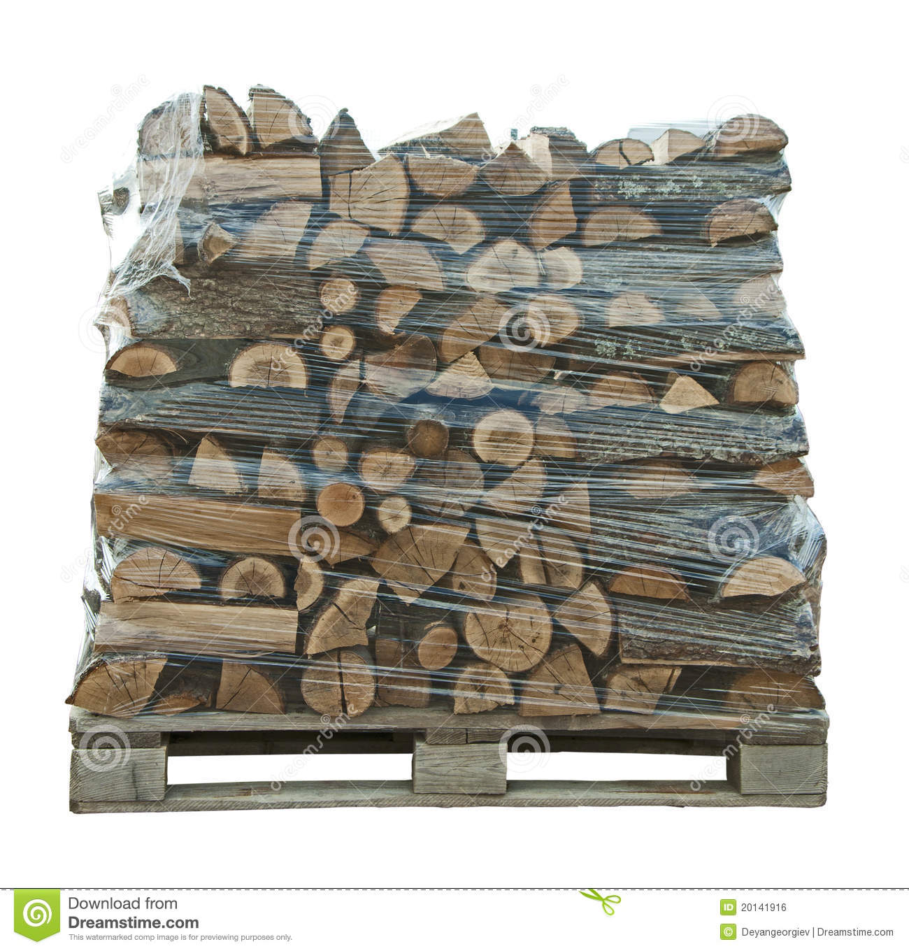 Packaged stack of freshly cut trees