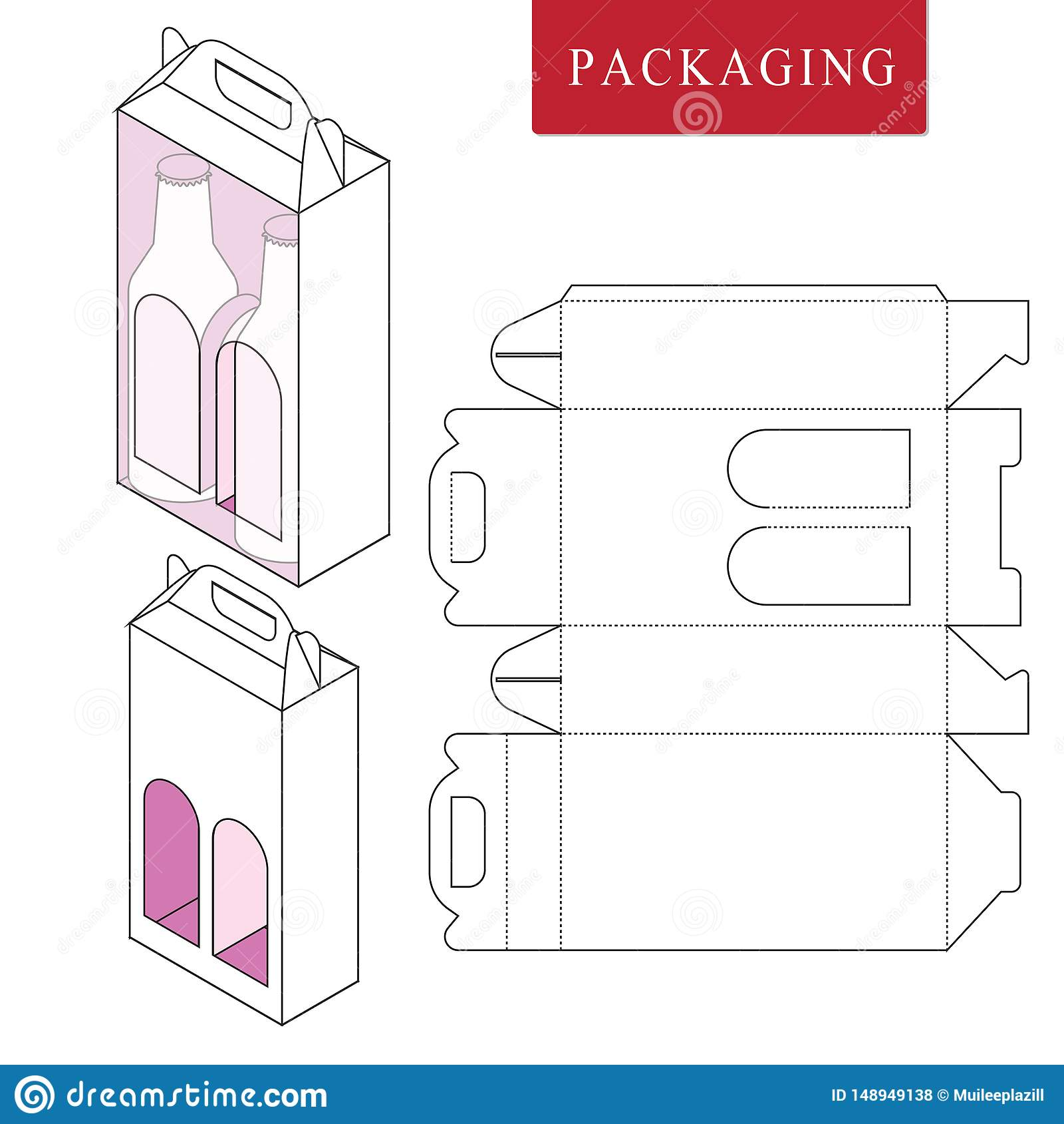 Packaging for can bottle.Isolated White Retail Mock upVector Illustration of Box.