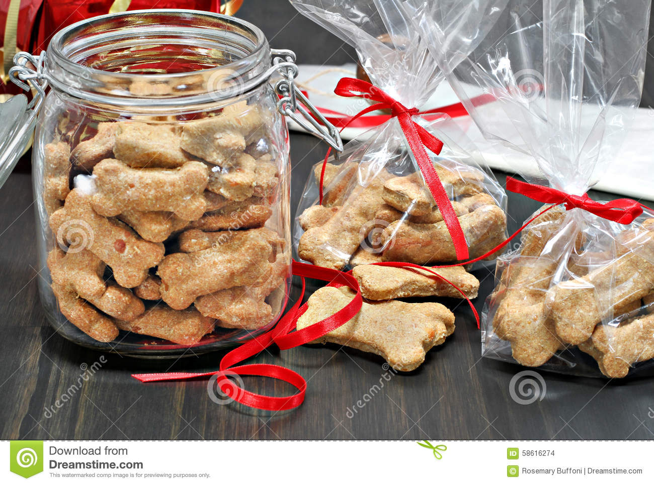 Packaging Dog Biscuits For Christmas. Stock Photo - Image of ...