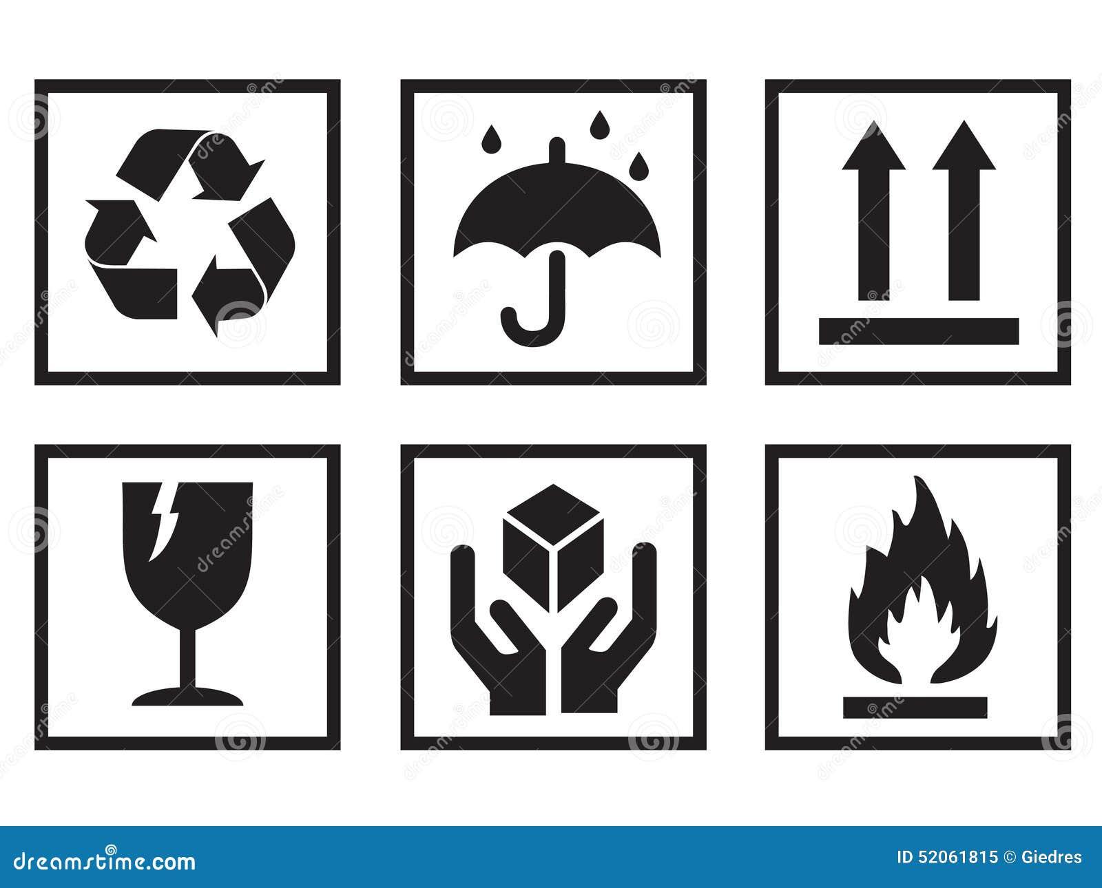 Packaging Symbols stock vector  Illustration of elements