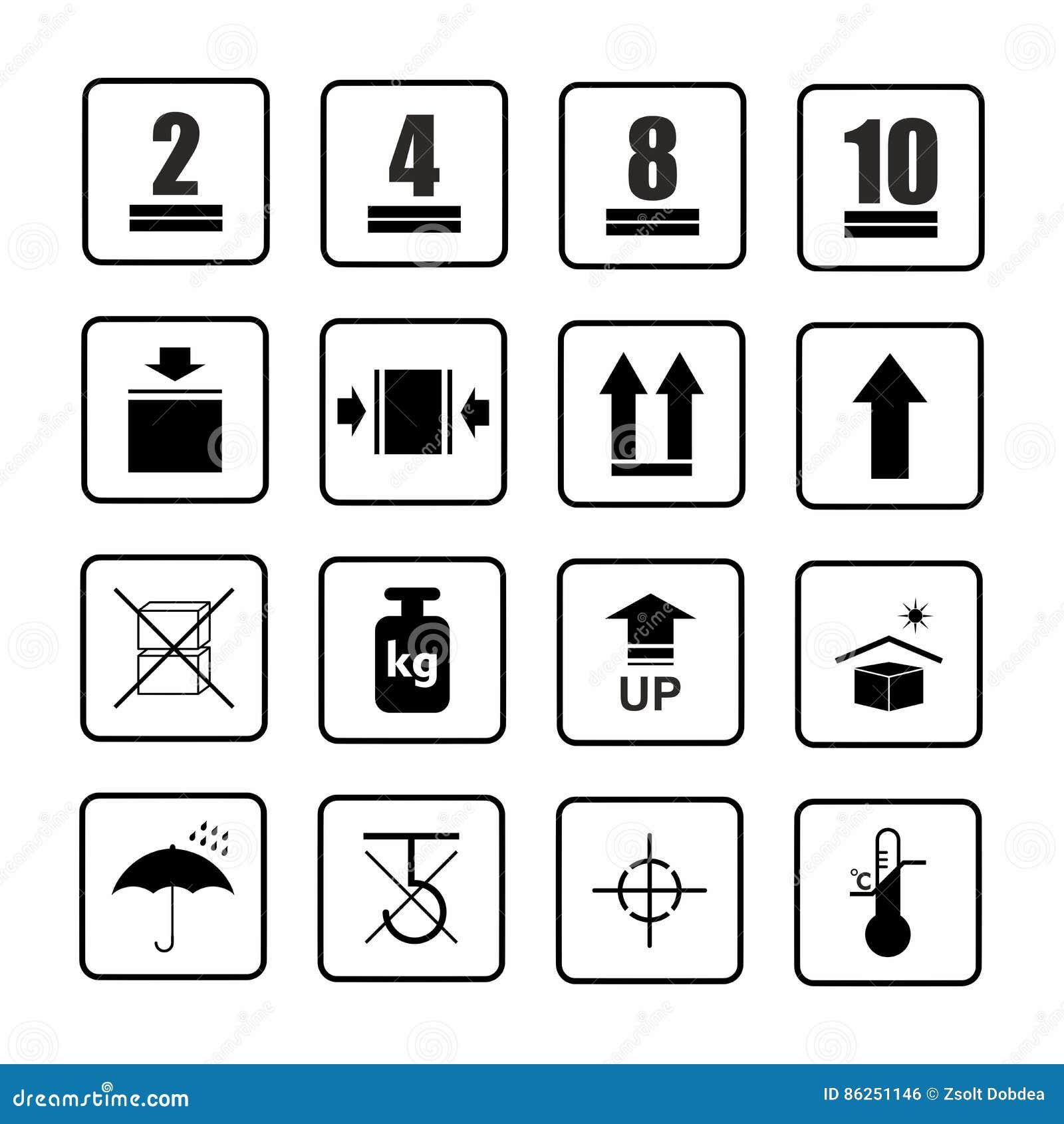 Packaging symbols set 2 of 2 .