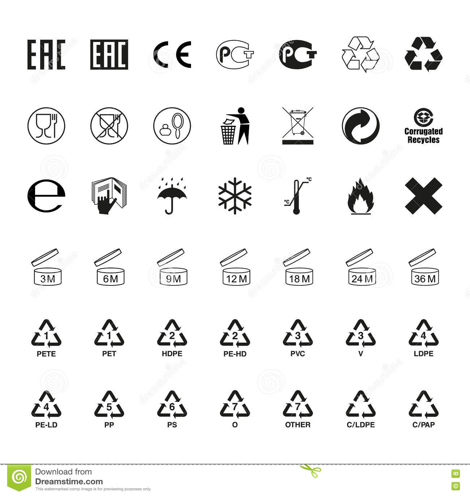 Plastic recycling symbols set vector stock vector illustration of packaging symbols set vector stock photo buycottarizona Images