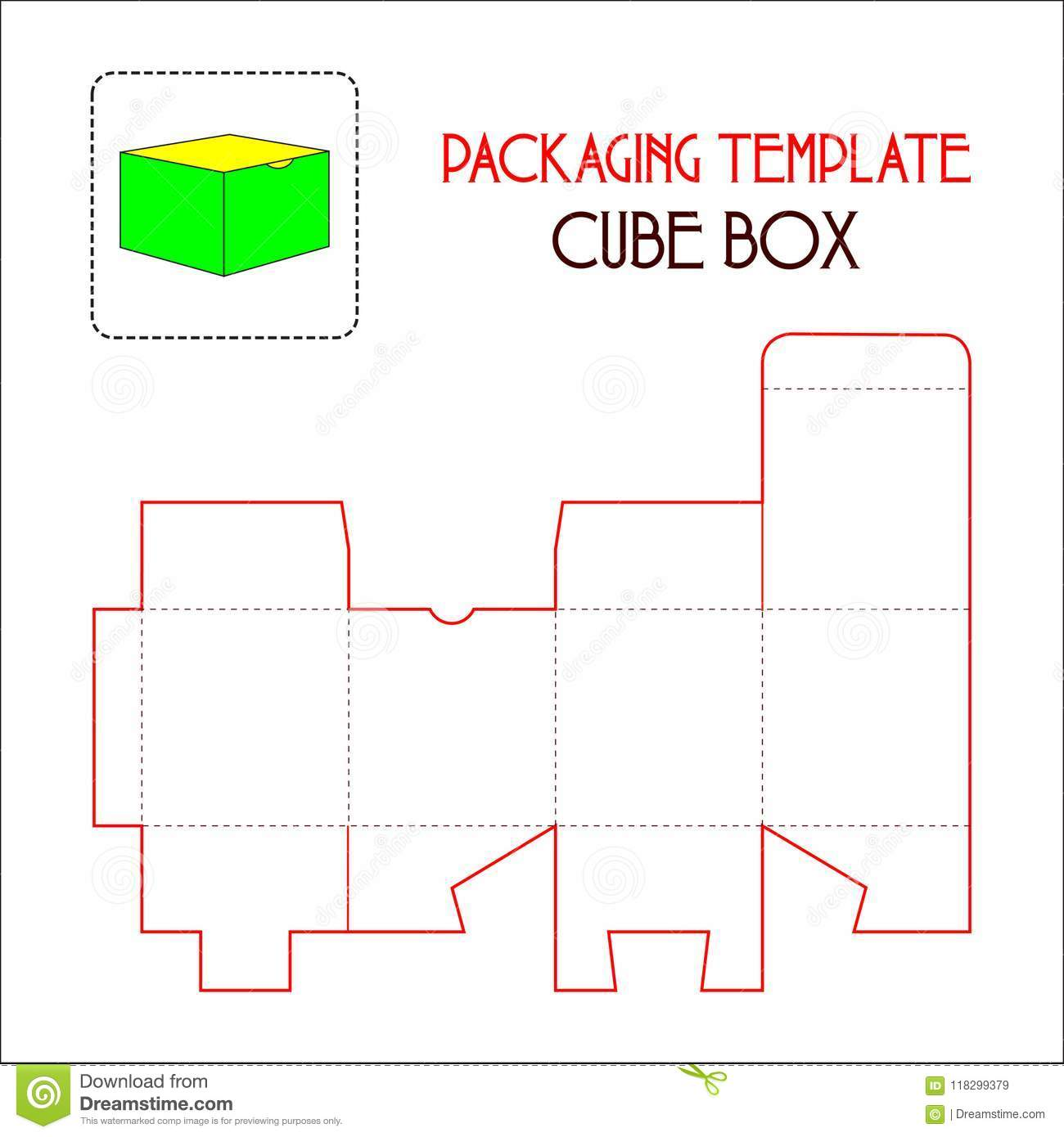packaging template cube box stock vector illustration of clean