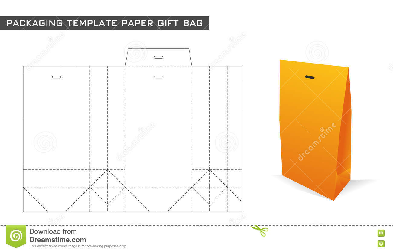 Packaging Template Paper Gift Bag Stock Vector - Image: 72670016