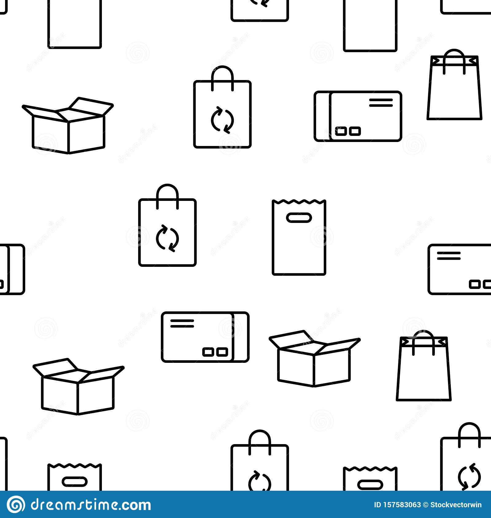 Packaging Types Vector Seamless Pattern