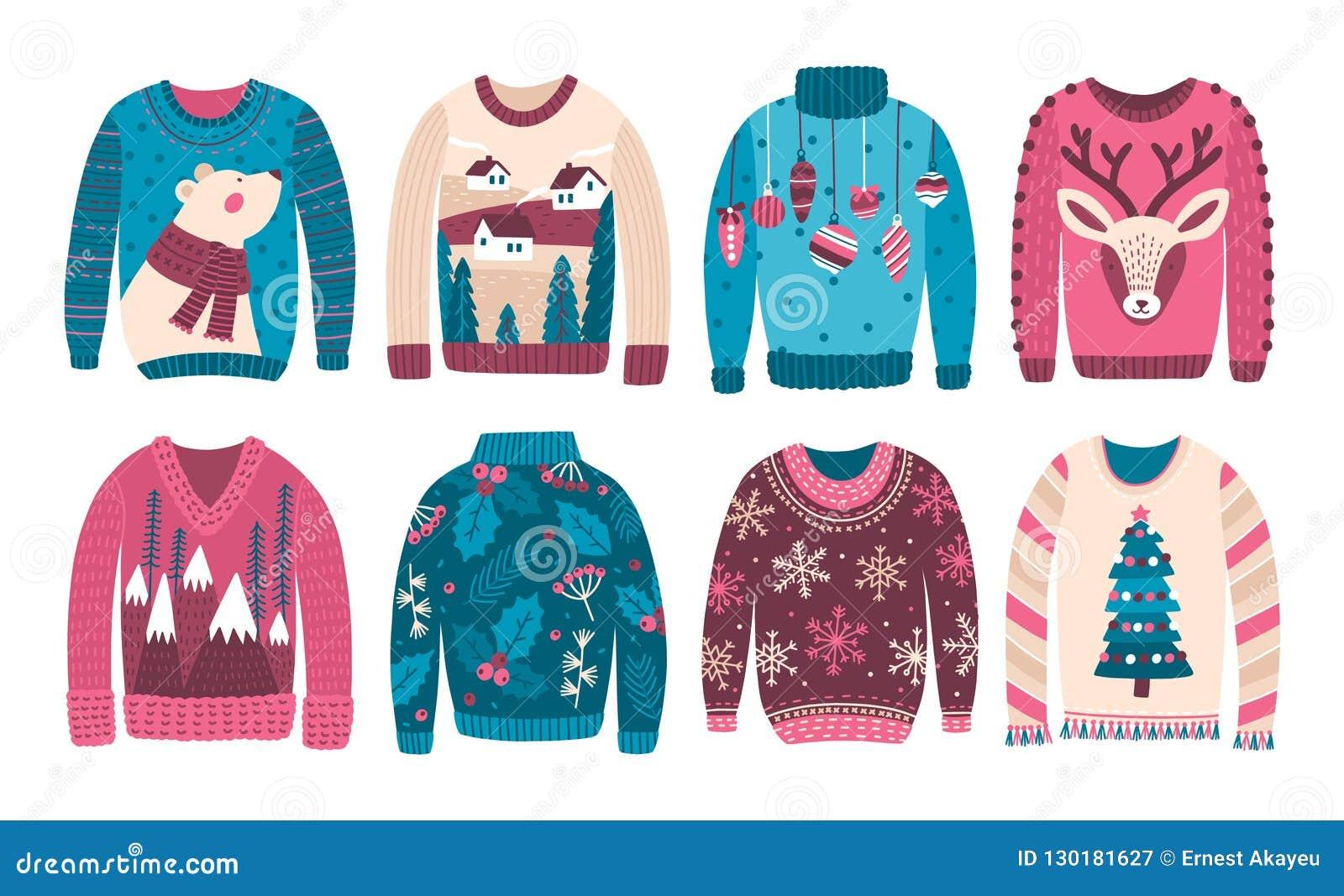 Packe av fula jultröjor eller förkläden som isoleras på vit bakgrund Samling av udda eller konstigt säsongsbetonat woolen