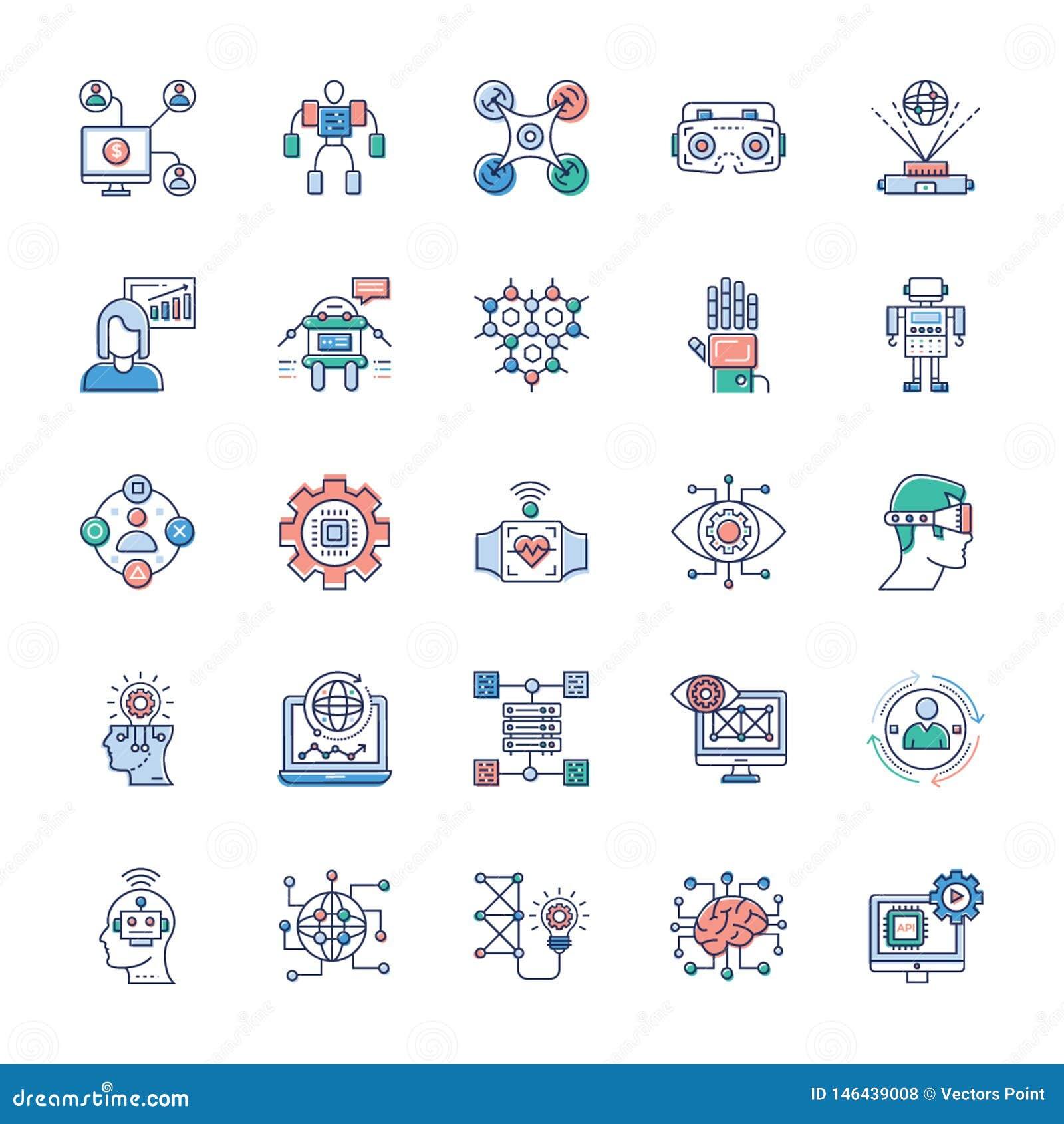 Packe av moderna teknologisymboler