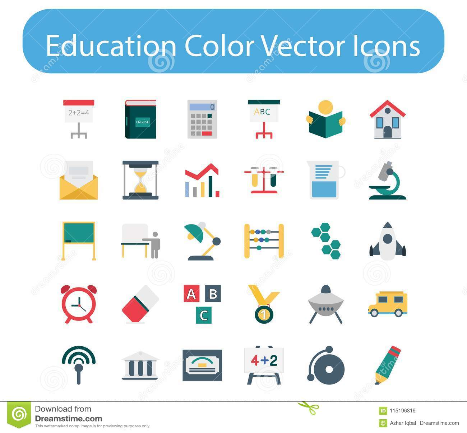 Packe för symbol för utbildningsfärgvektor