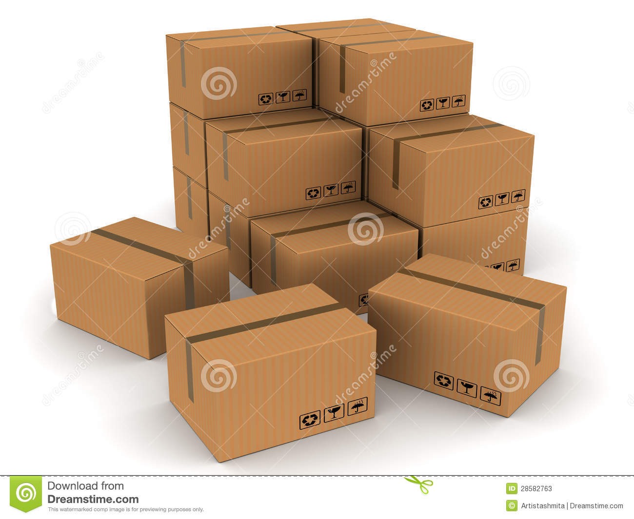 Packed boxes cartons