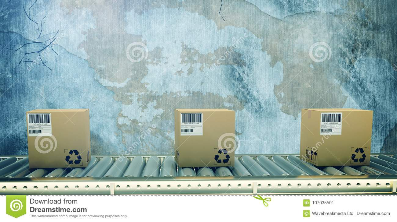 Composite image of packed courier on conveyor belt
